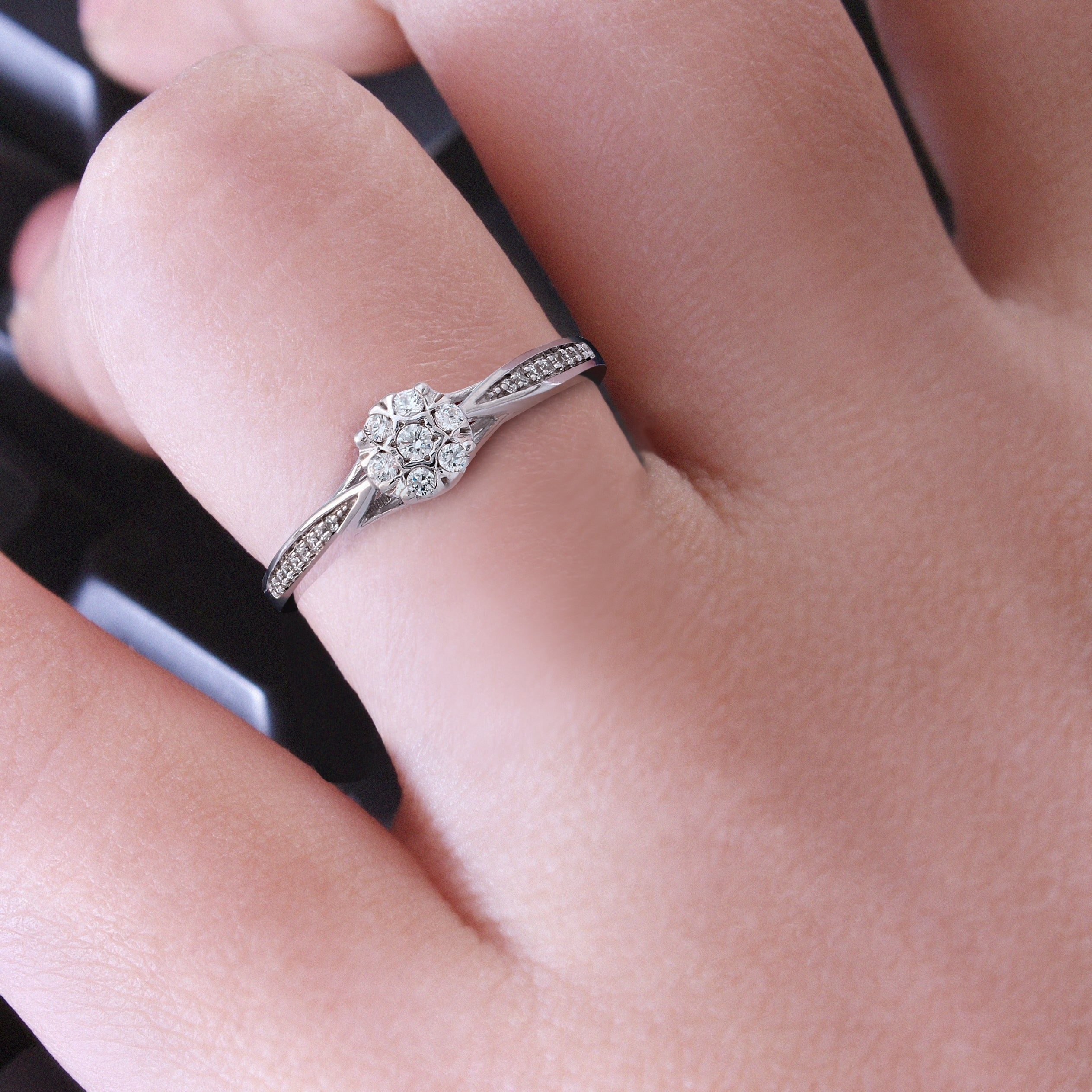 Shop Cali Trove 1/6 Ct Round Diamond Cluster Promise Ring In ...