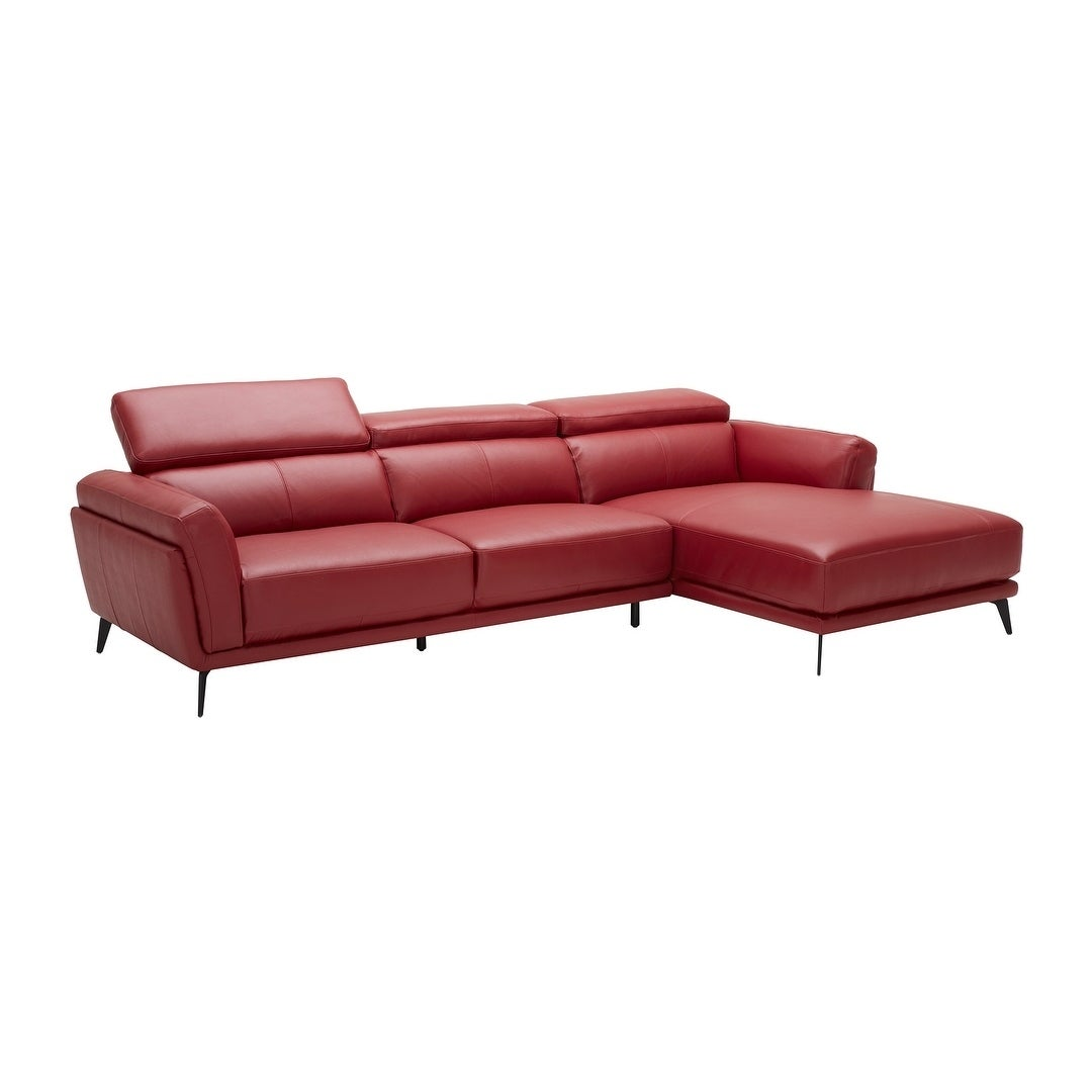 Shop Mid Century Modern Red Leather Upholstered Sectional Sofa