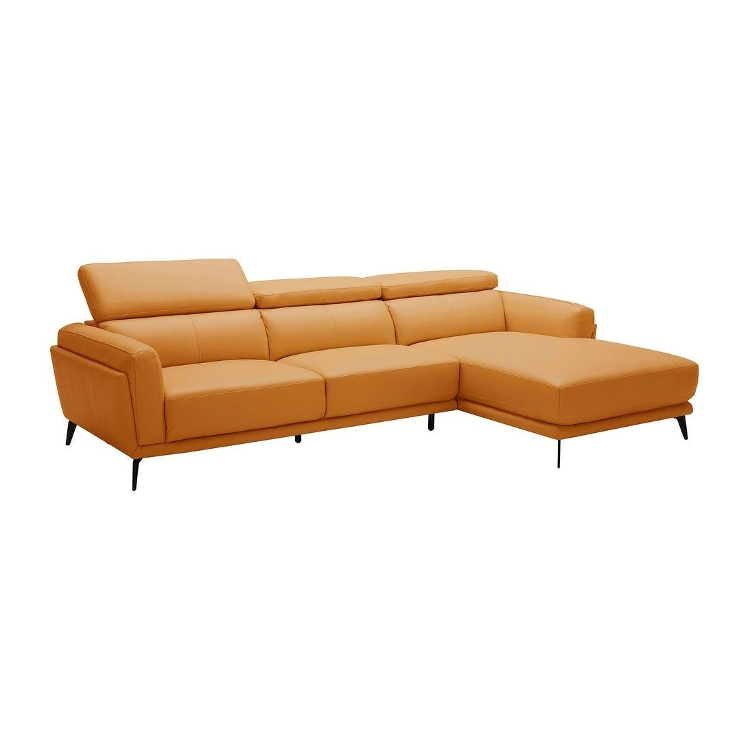 Mid Century Modern Orange Leather Upholstered Sectional Sofa