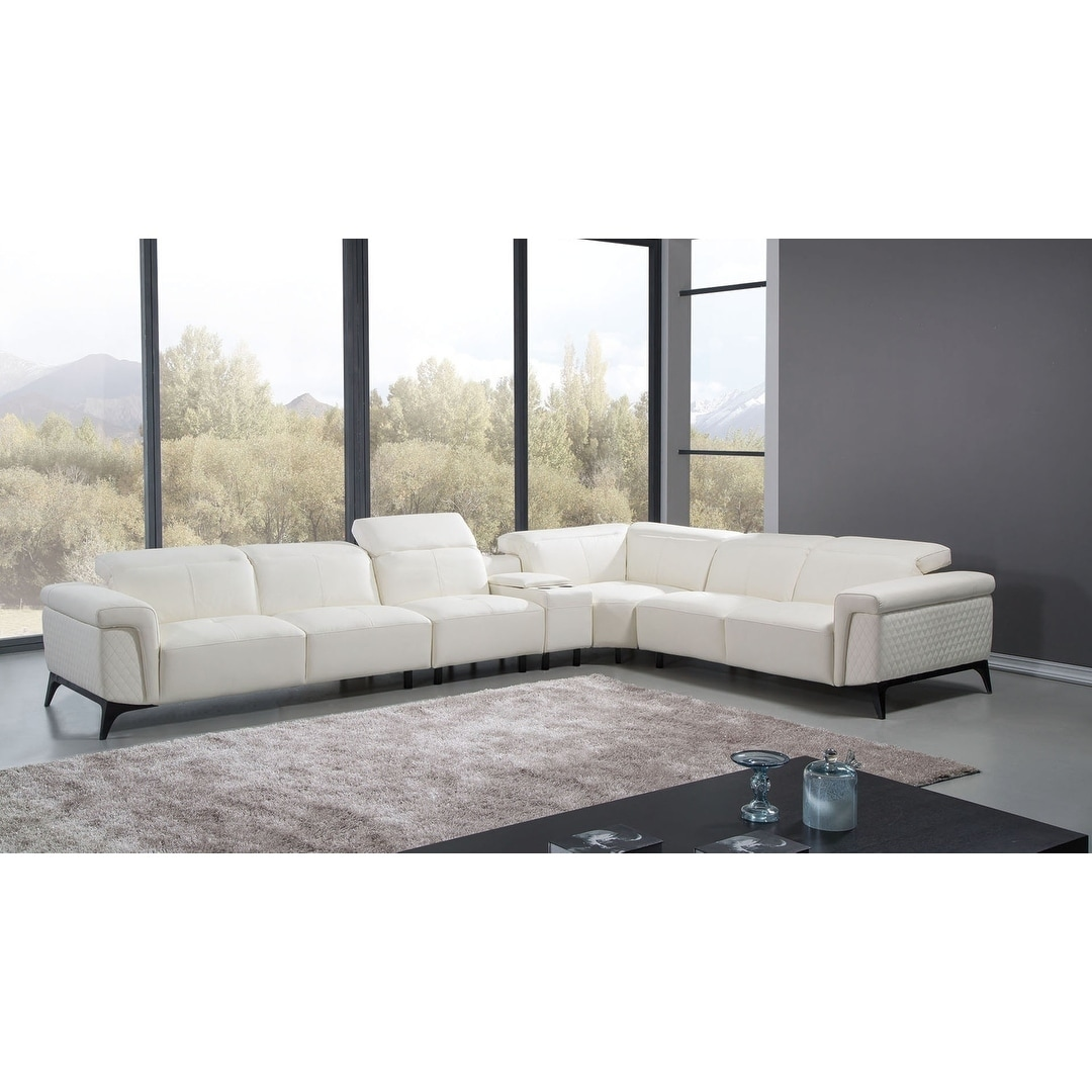 Oversized White Italian Leather Sectional Sofa - Free Shipping Today ...