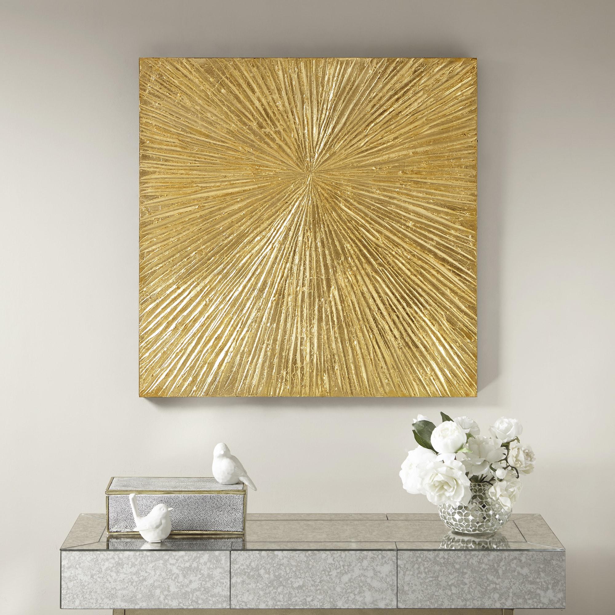 Shop Madison Park Signature Sunburst Gold Resin Dimensional Palm Box ...