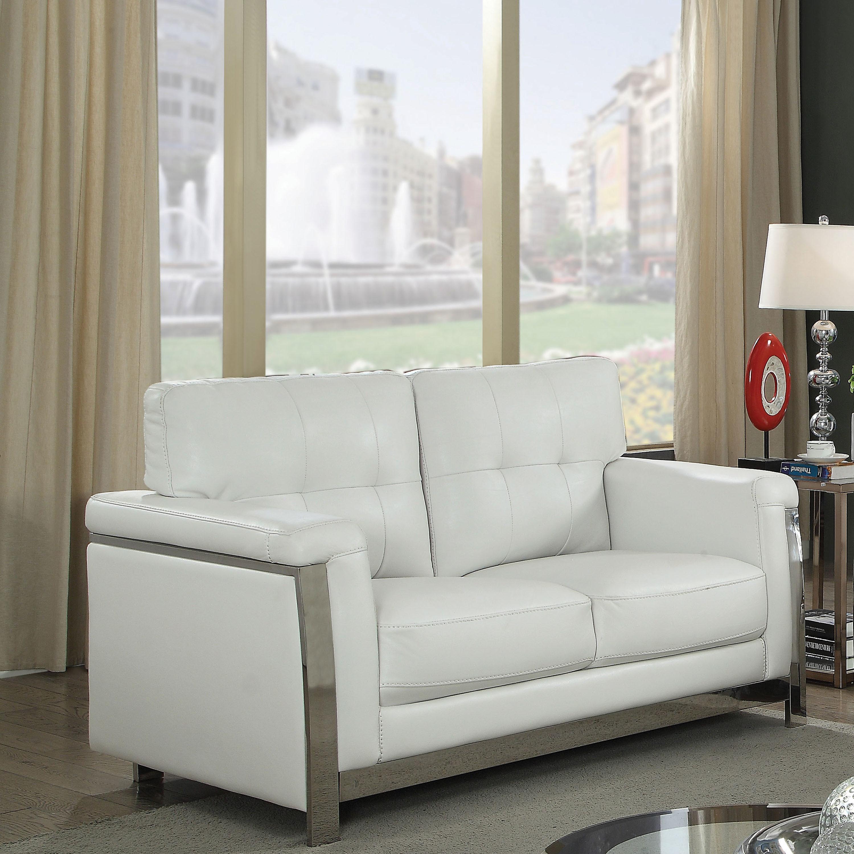 Furniture of america rodeyo modern stainless steel loveseat