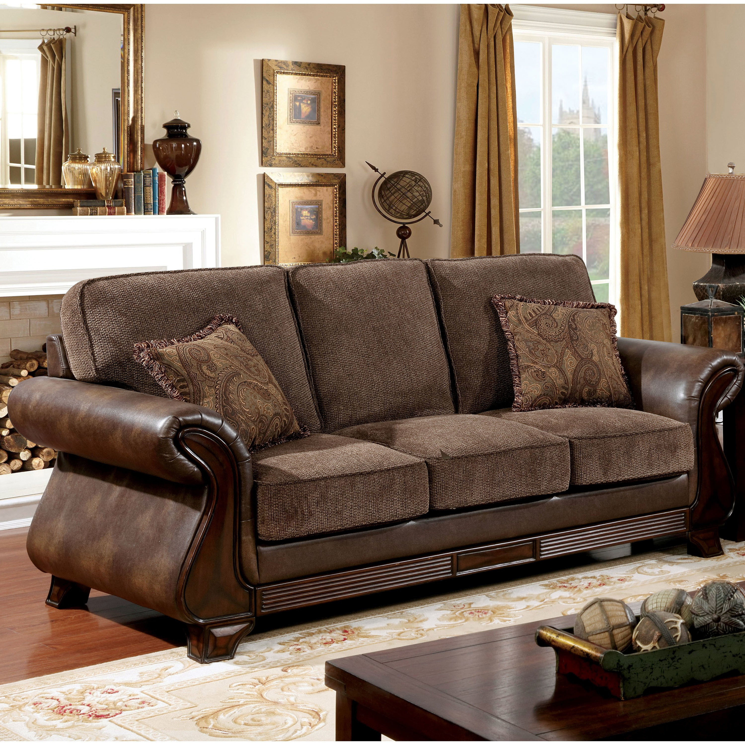 Furniture of america elyna microfiber and brown leather sofa