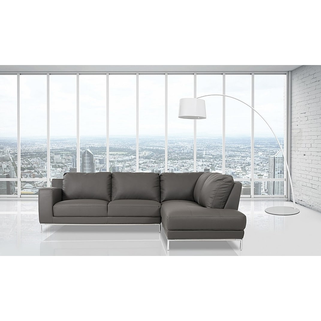 Shop Elmhurst Modern Dark Grey Leather Sofa With Right Facing Chaise   Free  Shipping Today   Overstock.com   19661156