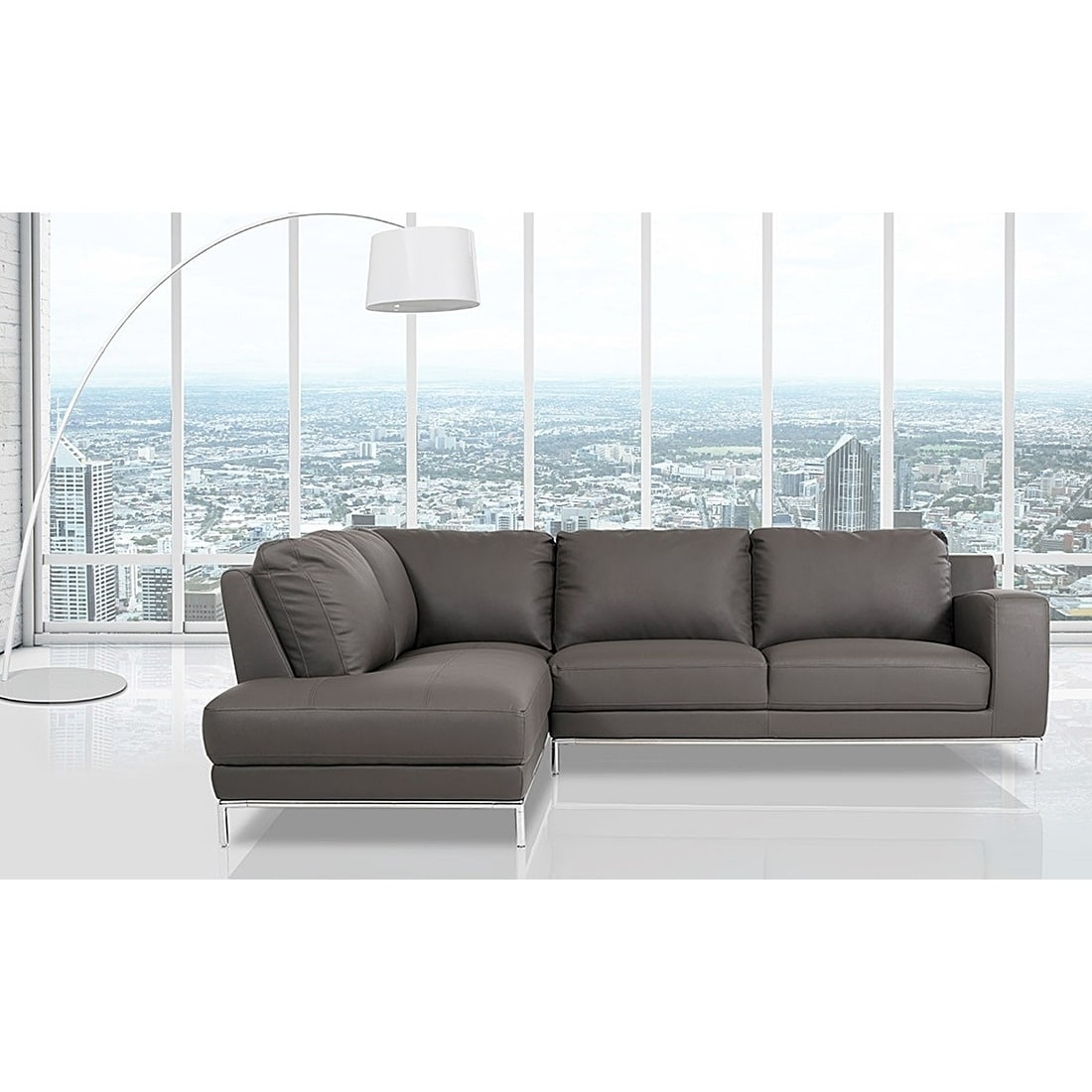 Shop elmhurst modern dark grey leather sofa with left facing chaise ships to canada overstock 19661224