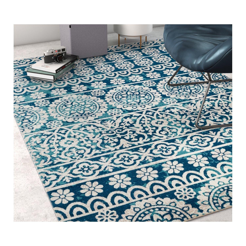Shop Well Woven Sayan Modern Tile Work Blue Area Rug - 5\'3 x 7\'3 ...