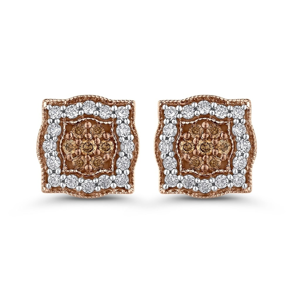 10k Rose Gold 5 8ct Tdw White And Brown Diamond Stud Earrings G H I2 I3 Free Shipping Today 25616933