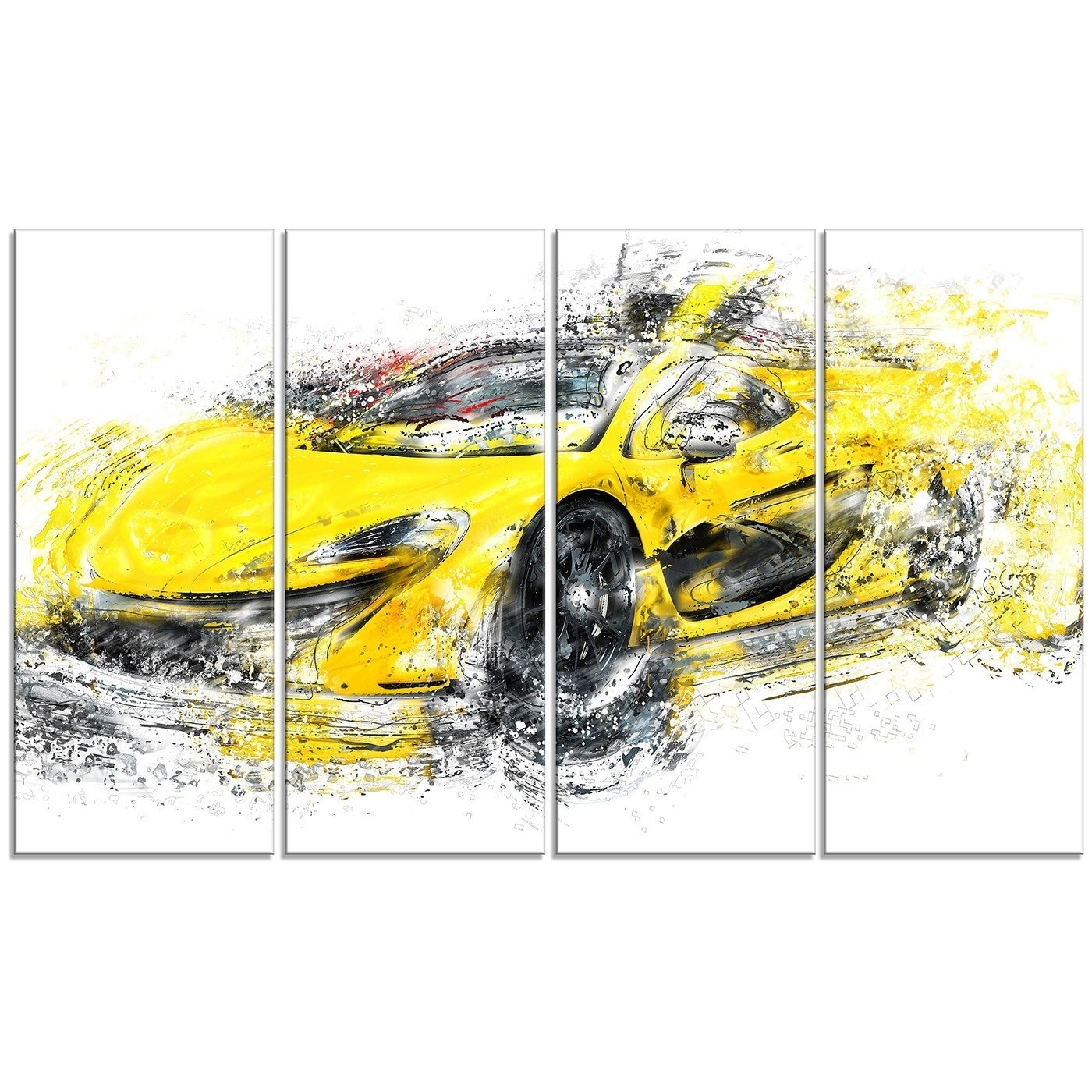 Shop Phase1 Designart Yellow Exotic Car Metal Wall Art - Ships To ...