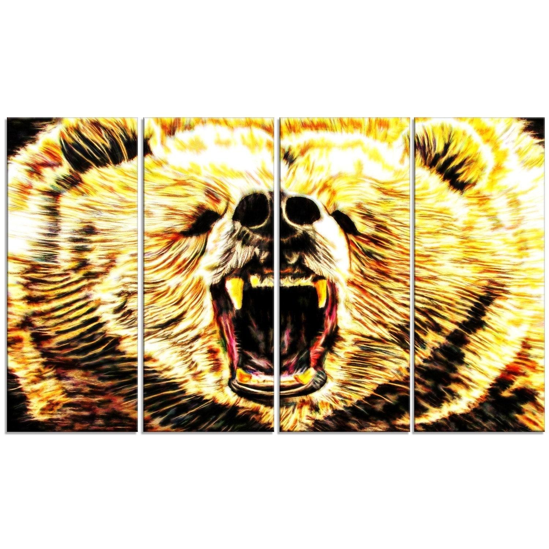 Phase1 Designart \'Brazen Bear\' Animal Metal Wall Art