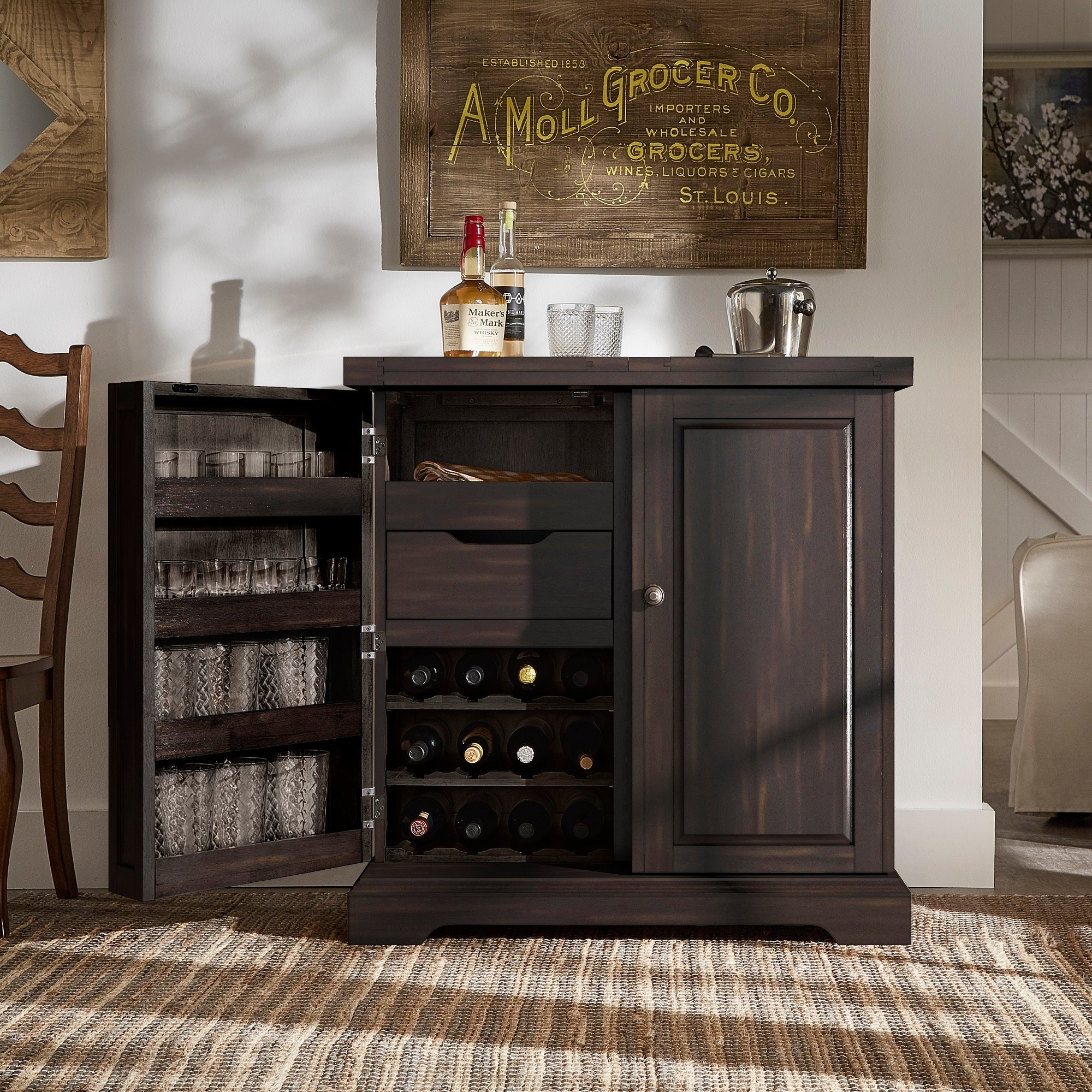 Shop Astrid Expandable Wood Bar Cabinet Server By INSPIRE Q Classic   On  Sale   Free Shipping Today   Overstock.com   19670710