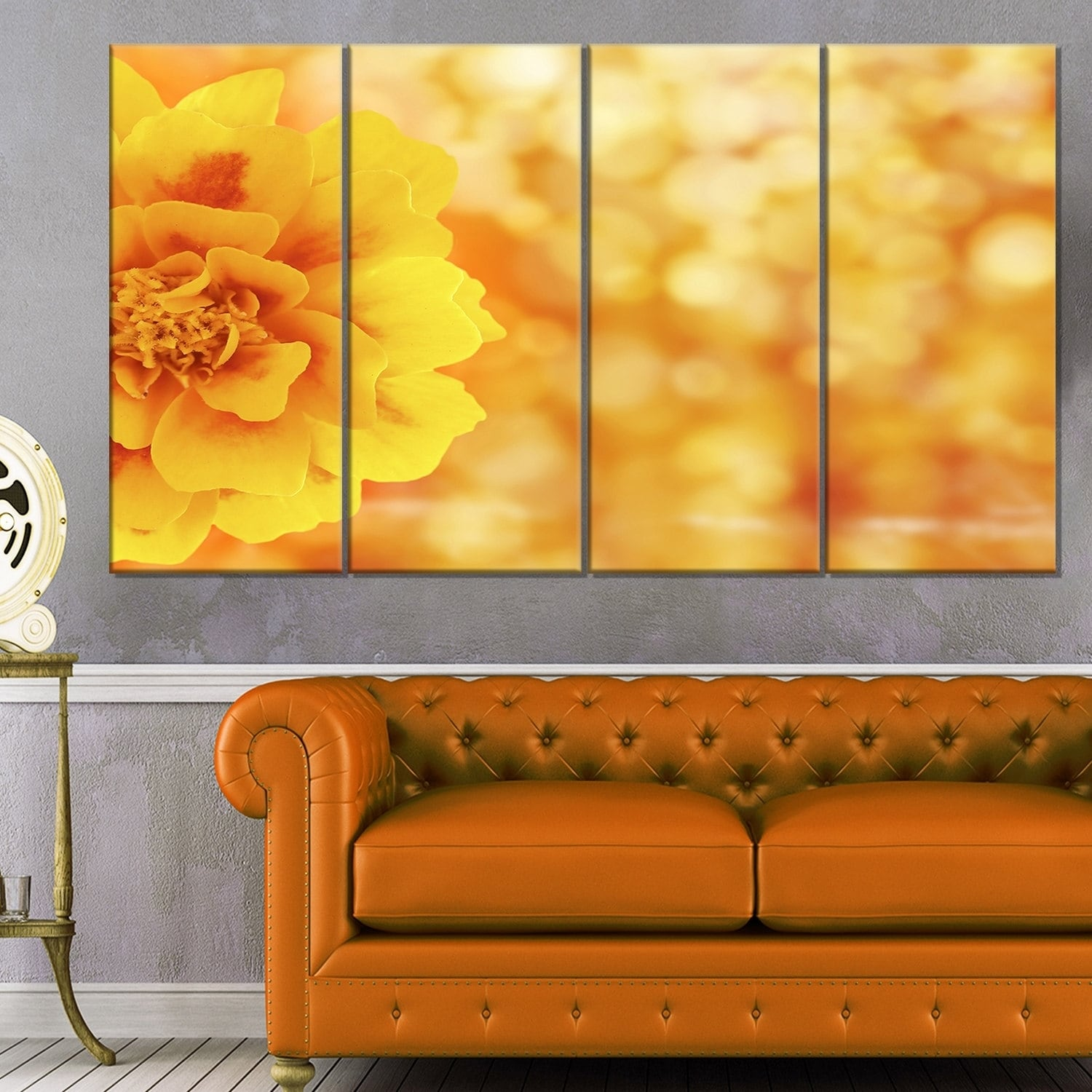 Designart \'Beautiful Floral Yellow Background\' Large Floral Canvas ...