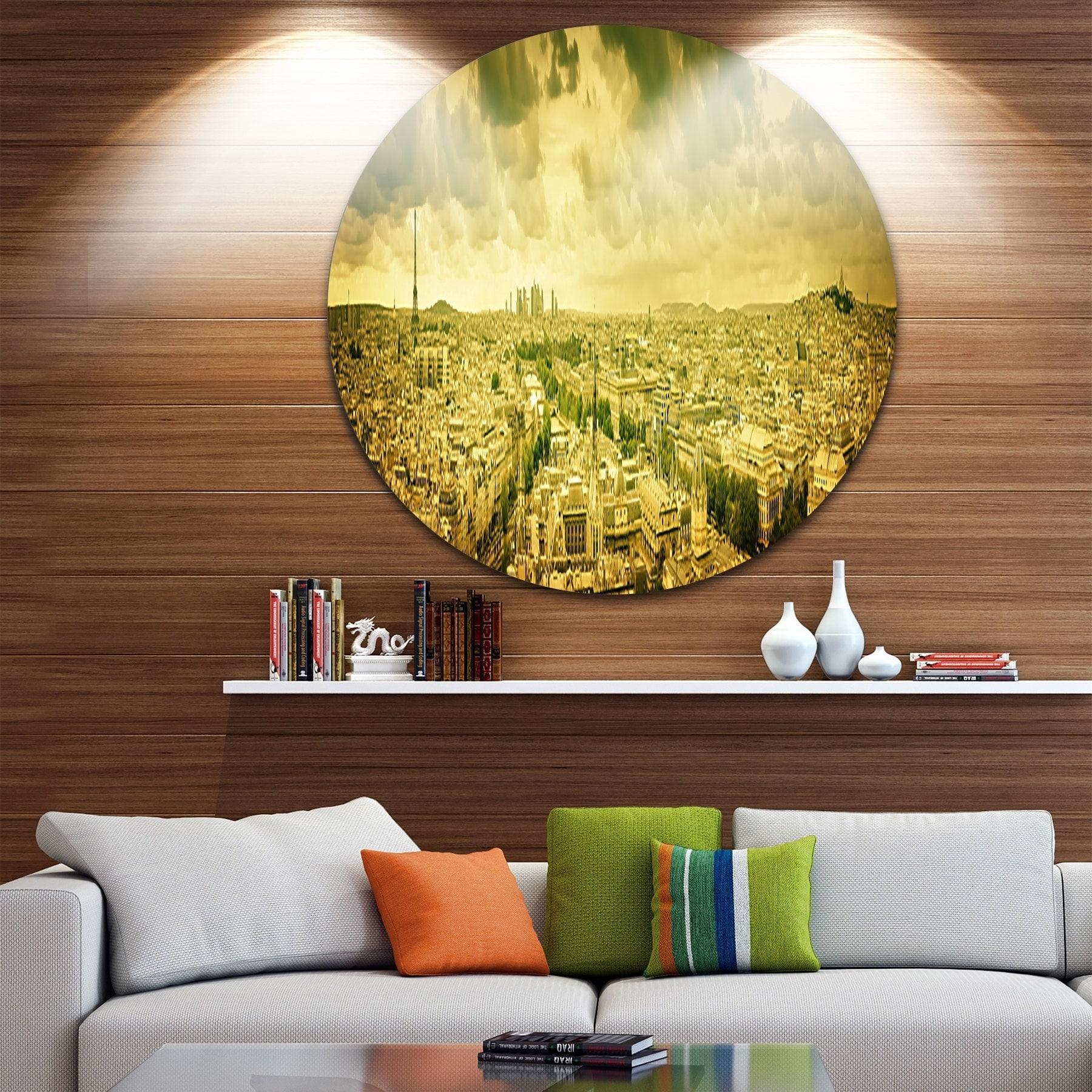 Designart \'Paris Panorama with Scenic Sky\' Cityscape Photo Round ...