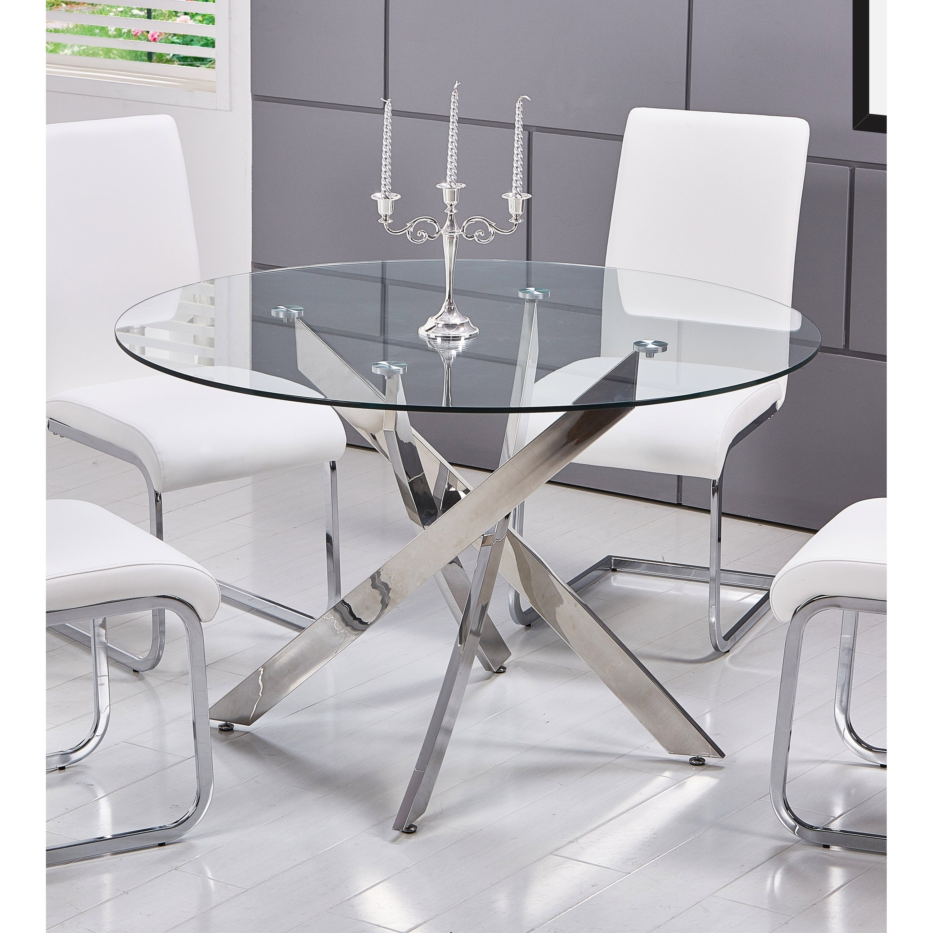 Shop best master furniture t01 round glass dining table silver free shipping today overstock com 19674774