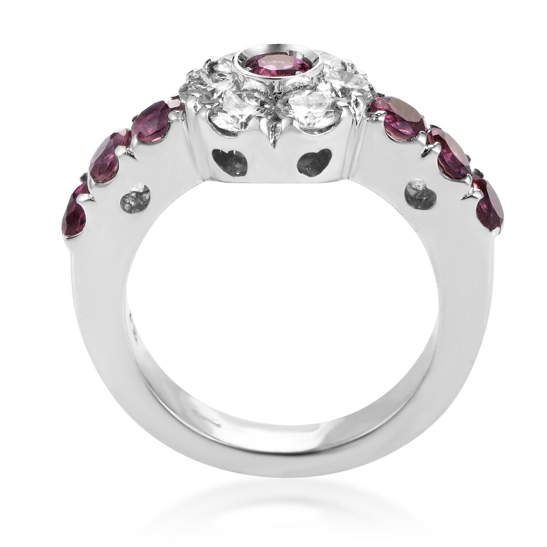 Shop Fiori Womens White Gold Diamond Pink Sapphire Flower Ring