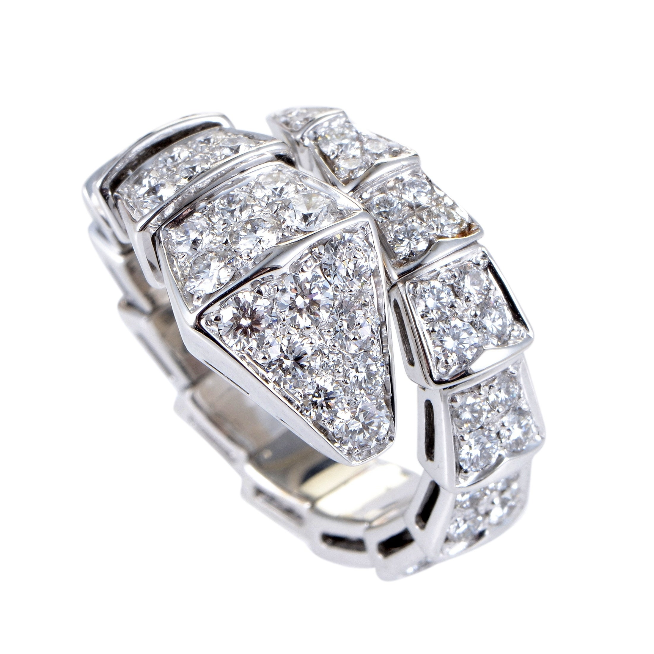ef7a7a6db4a5b Shop Bvlgari Serpenti Womens White Gold Full Diamond Pave Snake Ring Size S  AN855116S - Ships To Canada - Overstock - 19675919