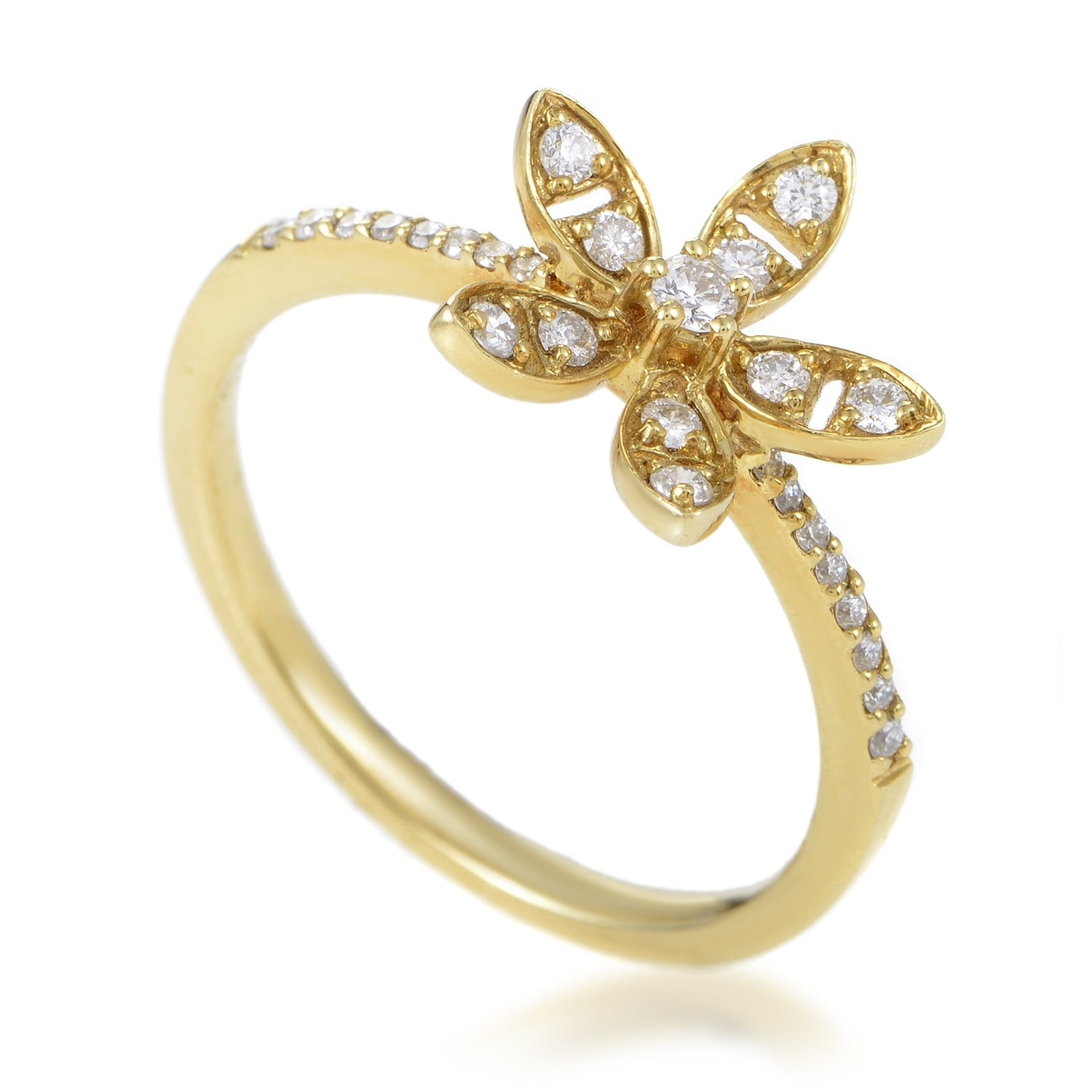 Shop Womens Yellow Gold Diamond Flower Ring Ko8439rmzz Free
