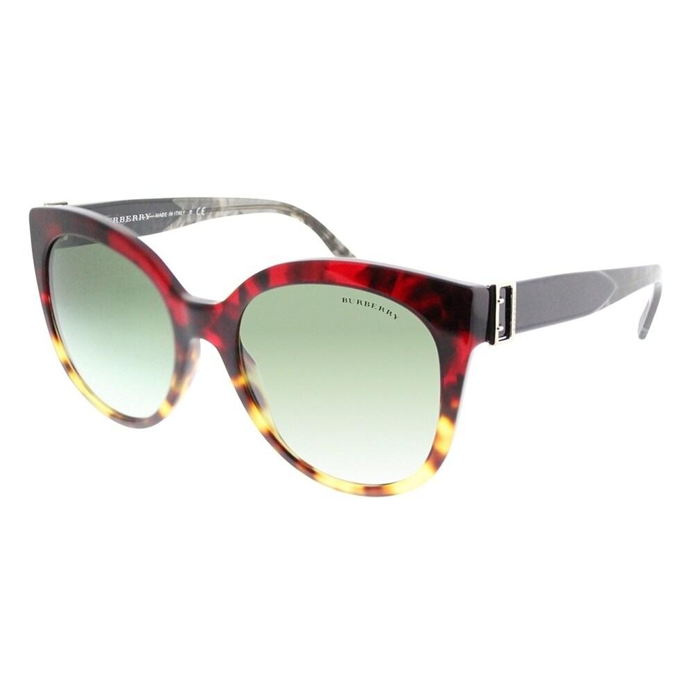 7ace520e9eda Burberry Cat-Eye BE 4243 36358E Women Red Havana Light Havana Frame Grey  Gradient Lens Sunglasses