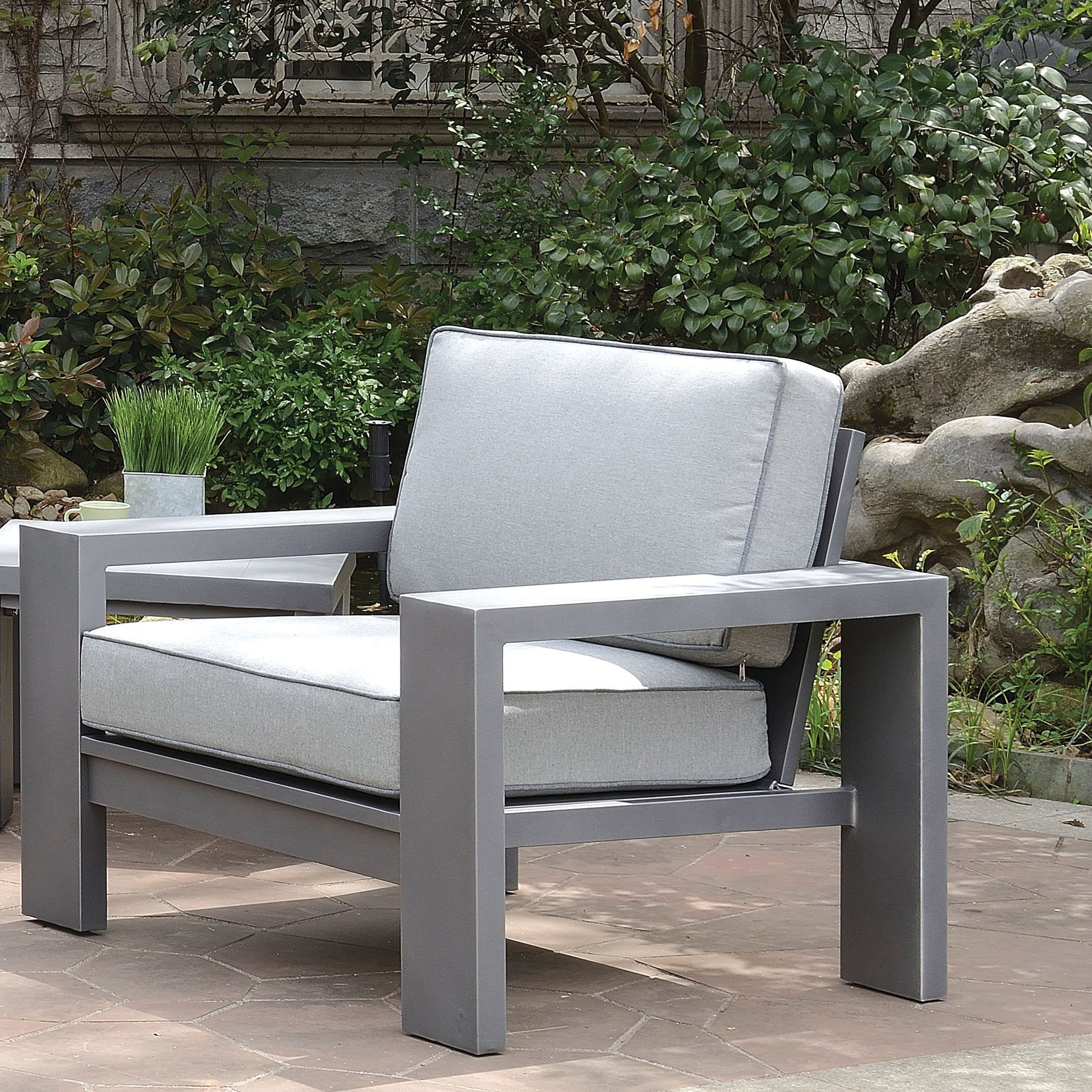 Shop Furniture Of America Luva Modern Grey Weather Resistant Patio Arm Chair  (Set Of 2)   On Sale   Free Shipping Today   Overstock.com   19683720