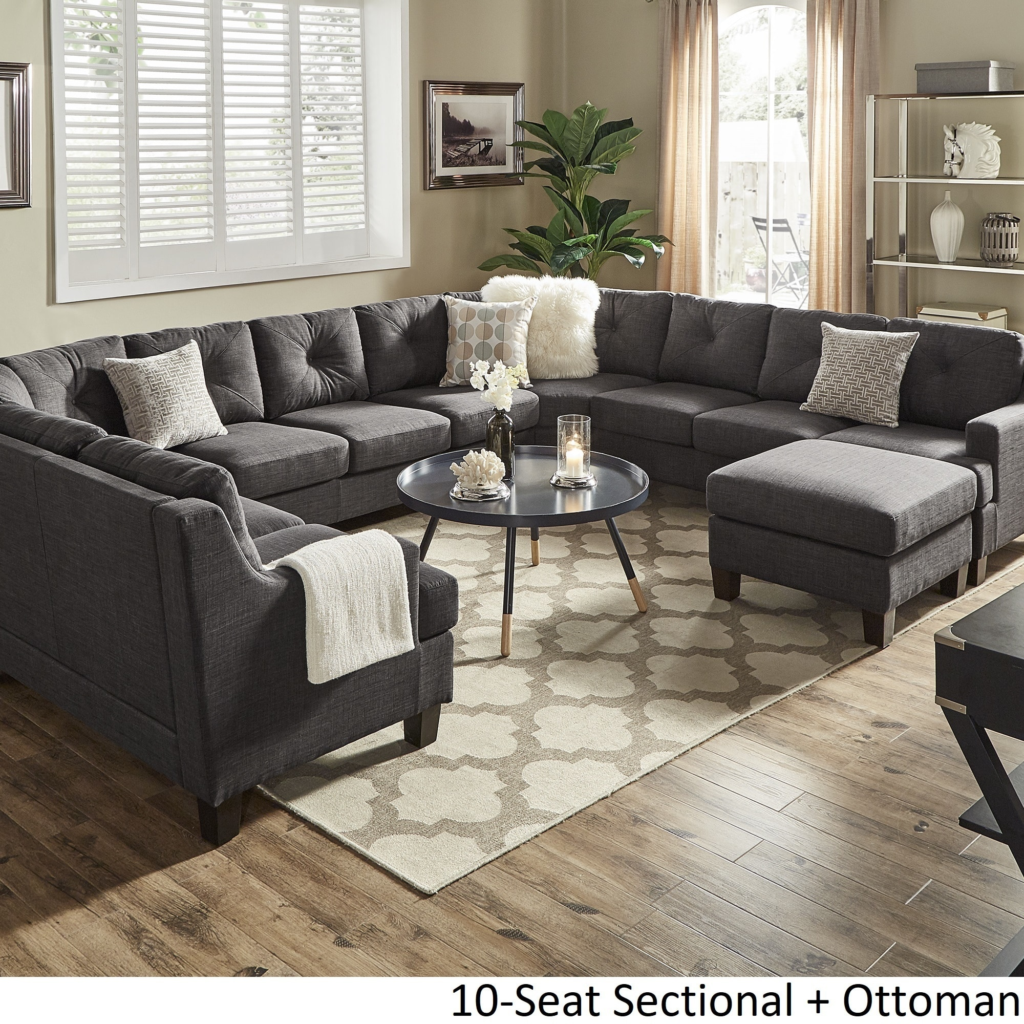 Elston Dark Grey Linen U Shape Sectionals By Inspire Q Modern On Free Shipping Today 19683866