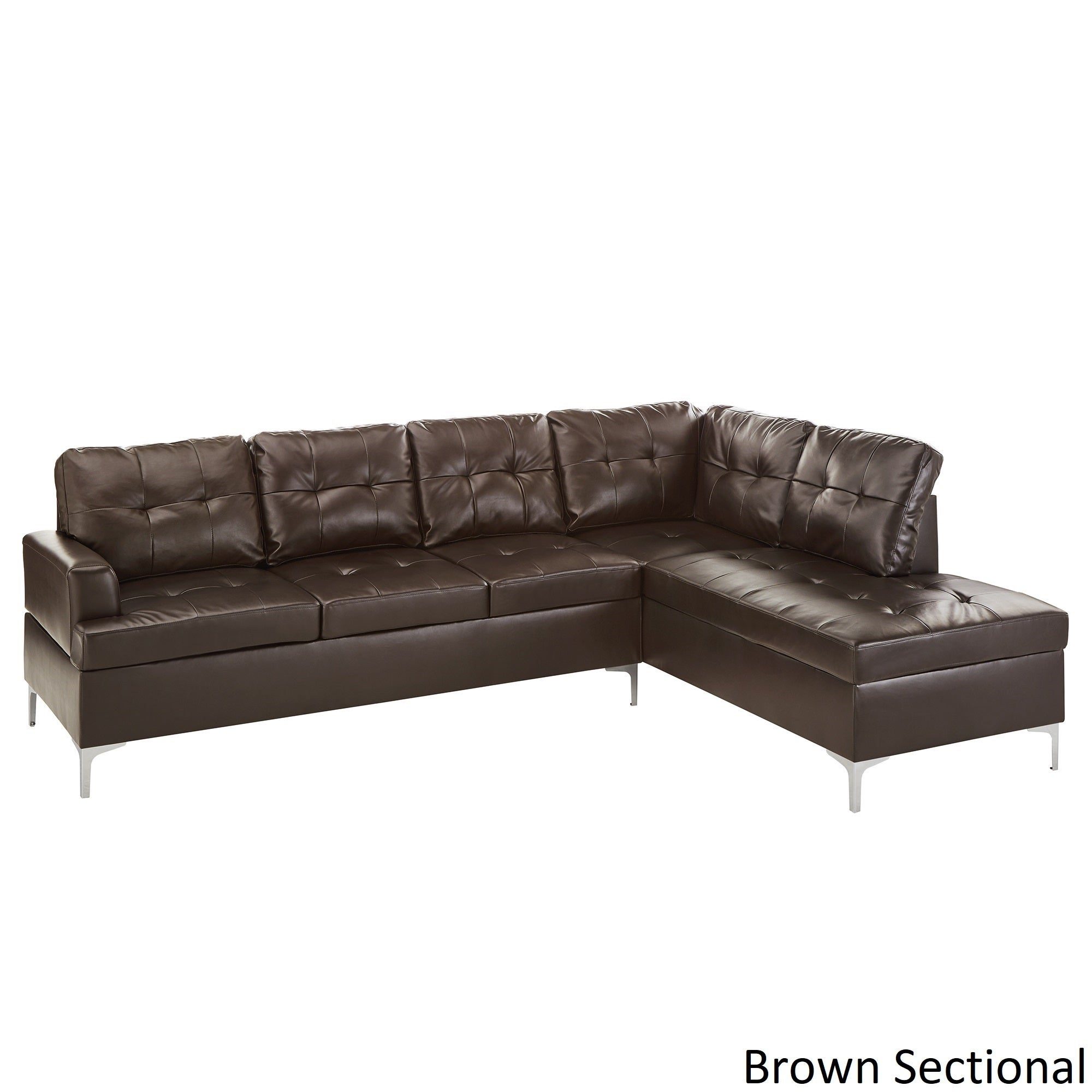 Exceptionnel Bonnie Tufted Faux Leather Sofa Sectional With Chaise By INSPIRE Q Modern    Free Shipping Today   Overstock.com   25633750