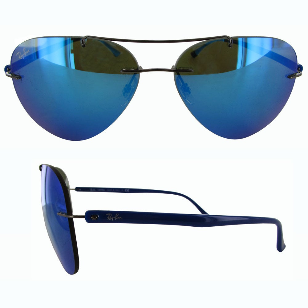 075aaf43b3 Shop Ray-Ban Titanium Pilot RB8058 Mens Gunmetal Frame Blue Mirror Lens  Sunglasses - Free Shipping Today - Overstock - 19684989