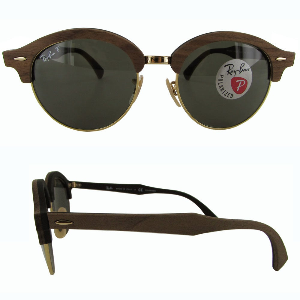 17a8a43554 Shop Ray-Ban Clubround Wood RB4246M Mens Brown Frame Polarized Green  Classic G-15 Lens Sunglasses - Free Shipping Today - Overstock - 19685233
