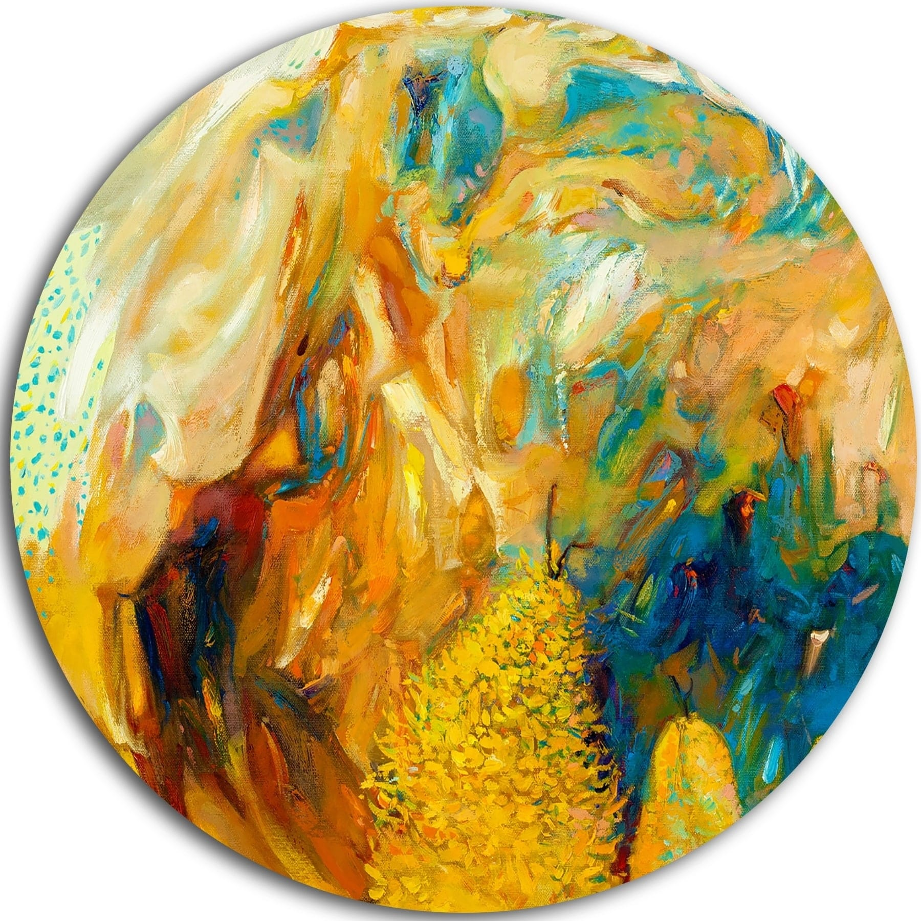 Designart \'Abstract Yellow Collage\' Abstract Large Glossy Metal Wall ...