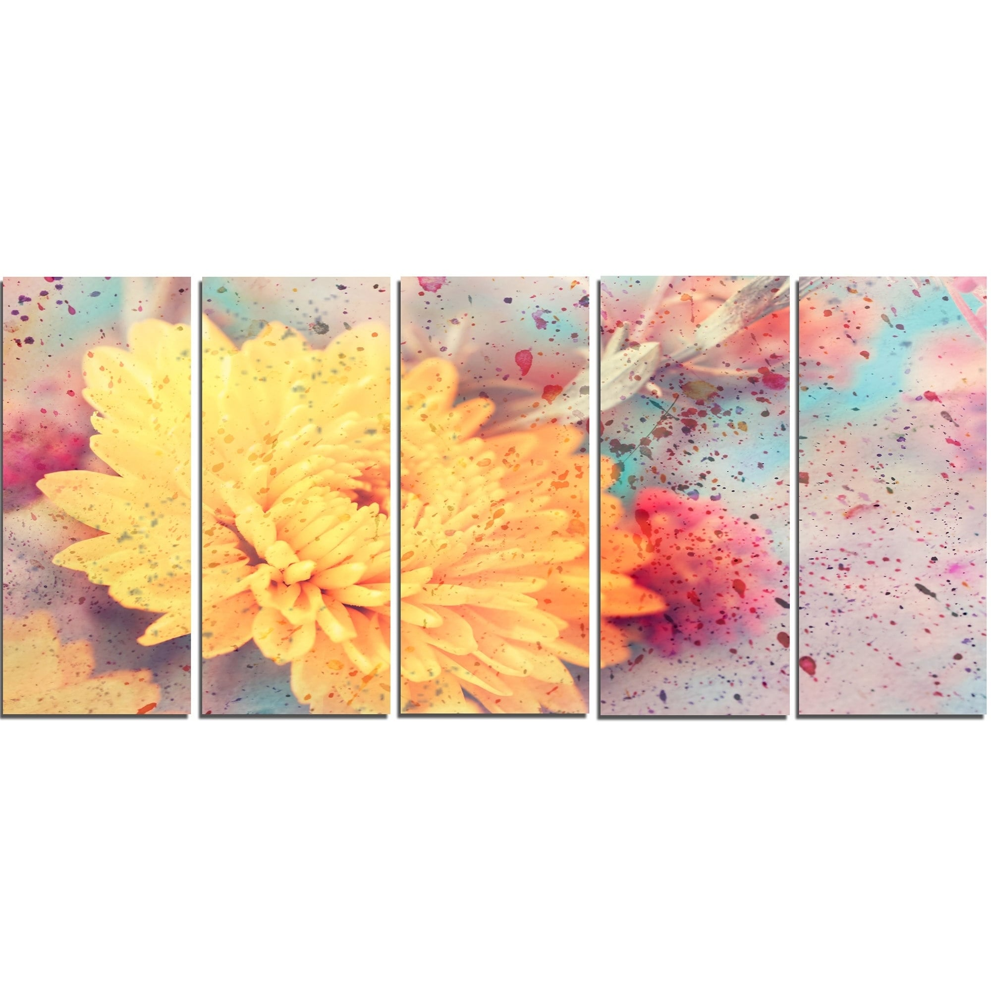 Designart \'Aster Flower with Watercolor Splashes\' Flower Glossy ...