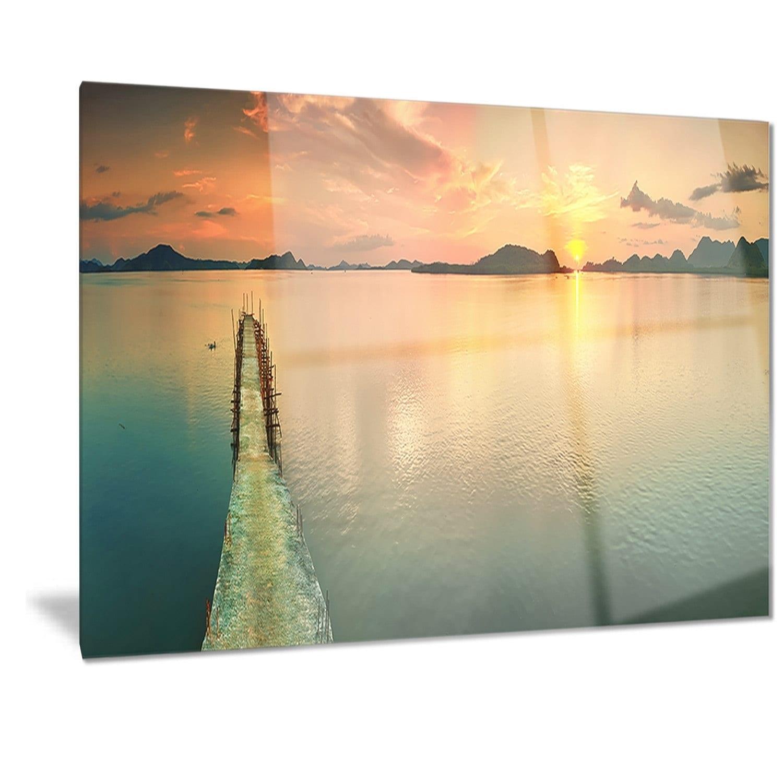 Shop Designart \'Tranquil Sunset Panorama\' Photography Metal Wall Art ...
