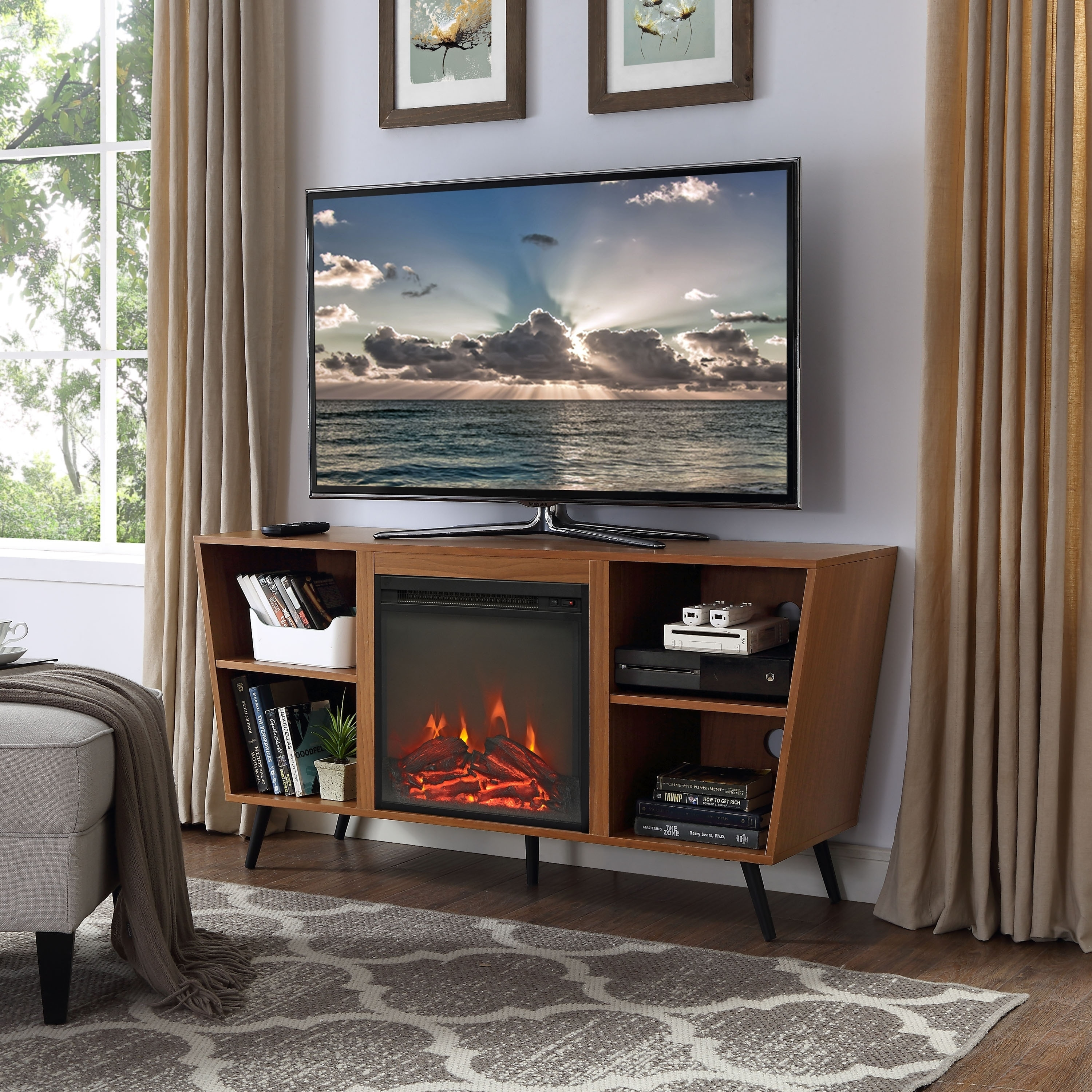 walker tvs stand driftwood edison sears for tv up with majestic insert living fireplace design