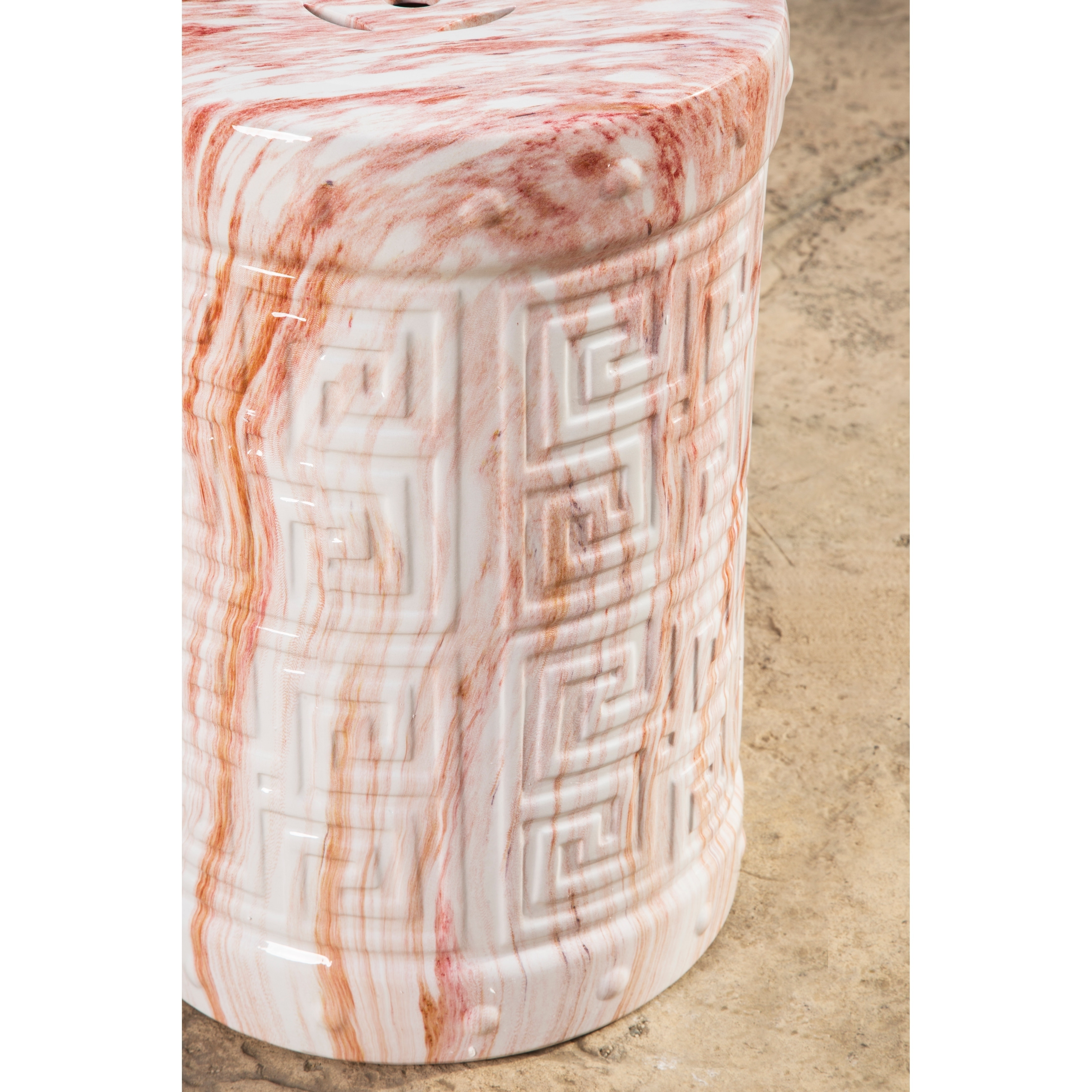 Shop Abbyson Coral Textured Ceramic Garden Stool   Free Shipping Today    Overstock.com   19719088