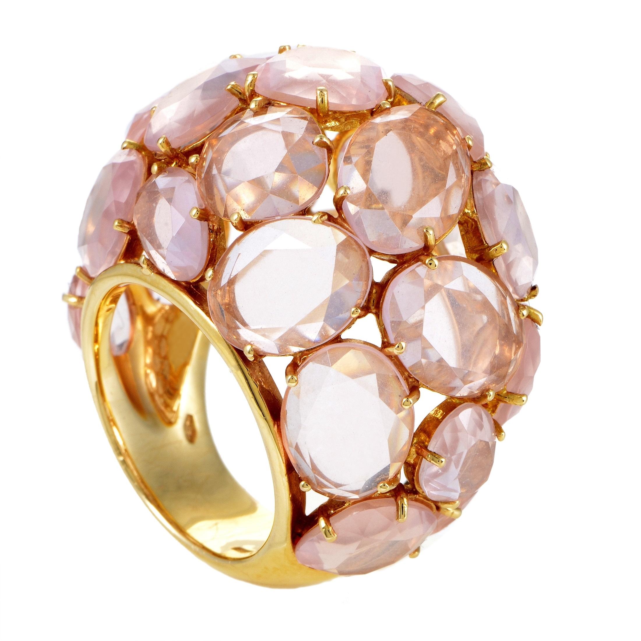 Bombe 94 pour pomellato capri women's yellow gold pink quartz bombe ring - free