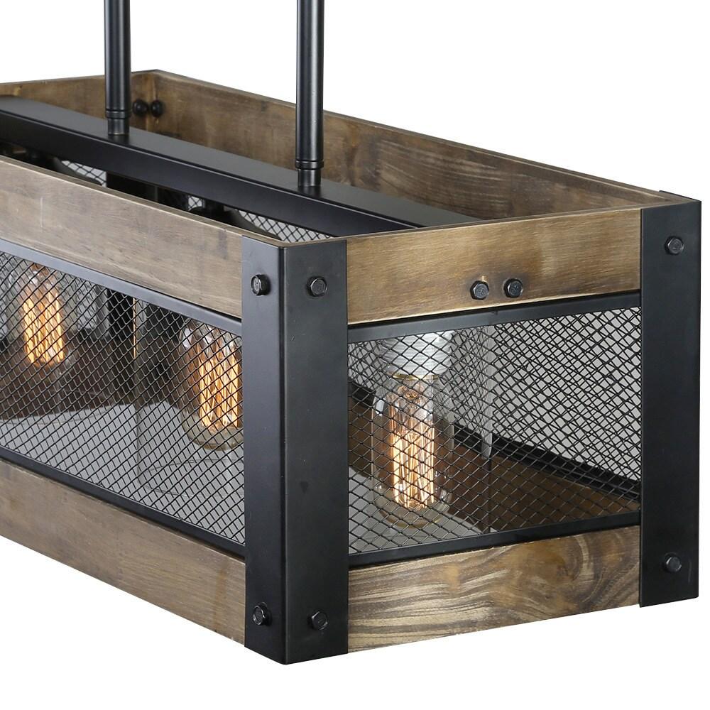 Shop LNC 3-light Wood Kitchen Island Lighting Hanging Pendant ...
