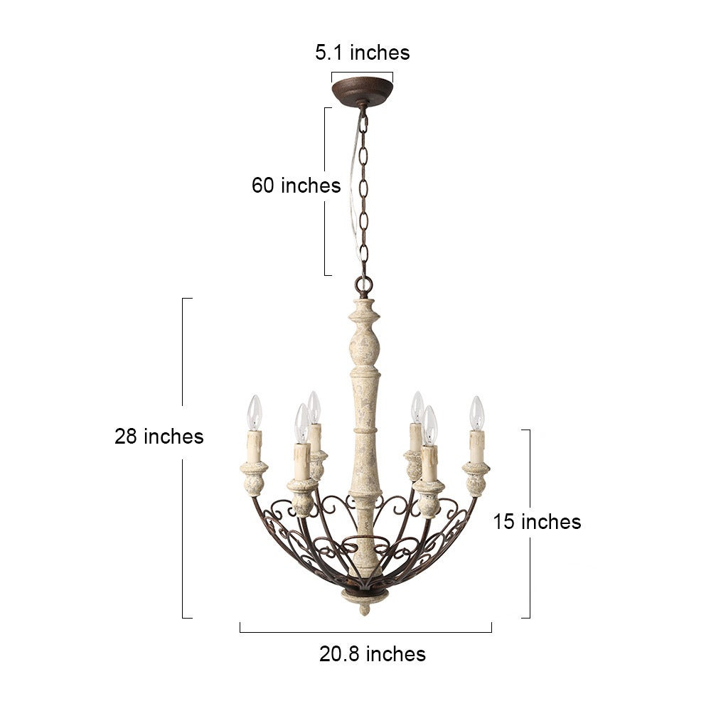 Lnc 6 Light Rustic Chandelier Lighting Shabby Chic French Country Wooden Chandeliers Bowl Pendant Lights On Ships To Canada