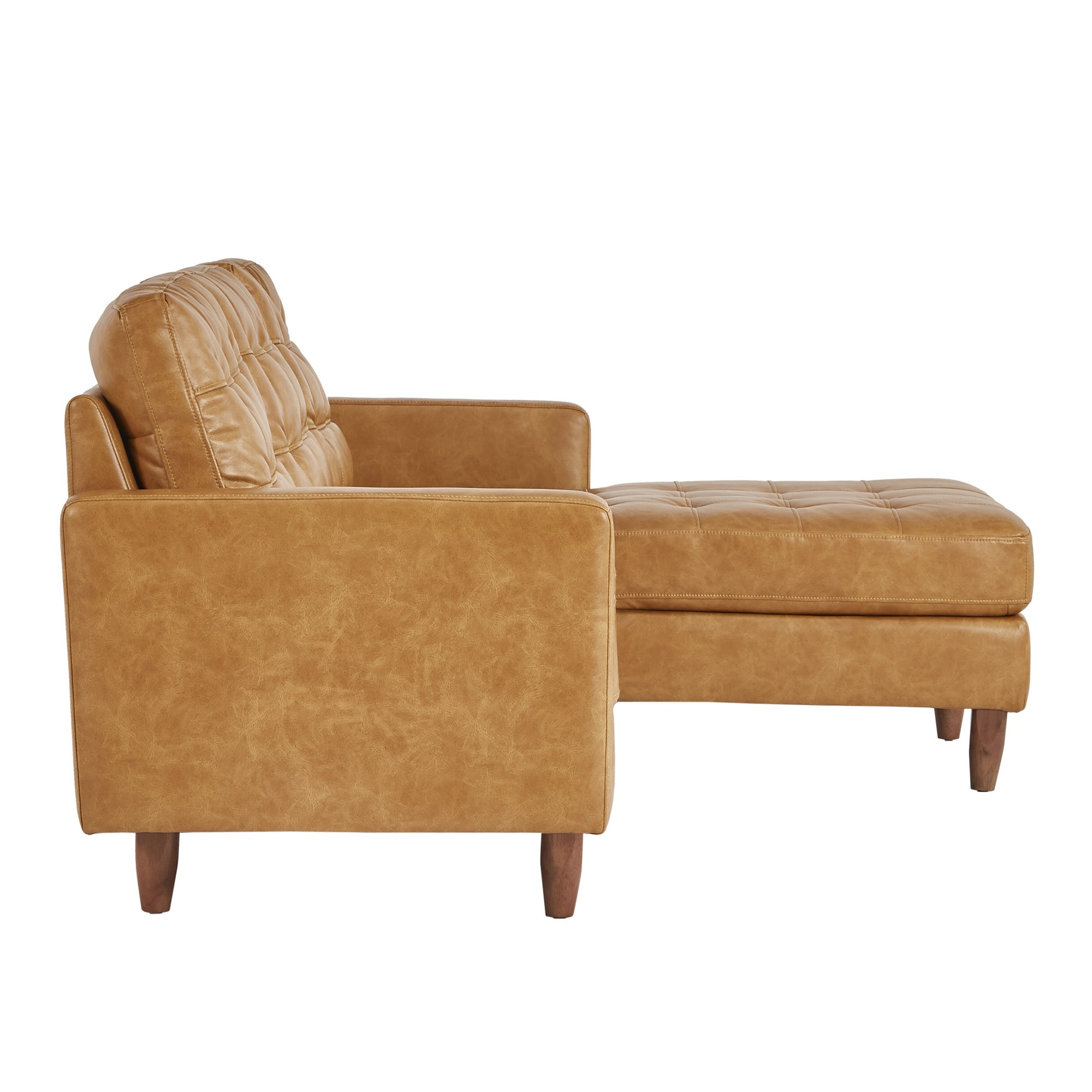 Odin Caramel Leather Gel Sofa Sectional with Chaise by iNSPIRE Q Modern -  Free Shipping Today - Overstock.com - 25688374