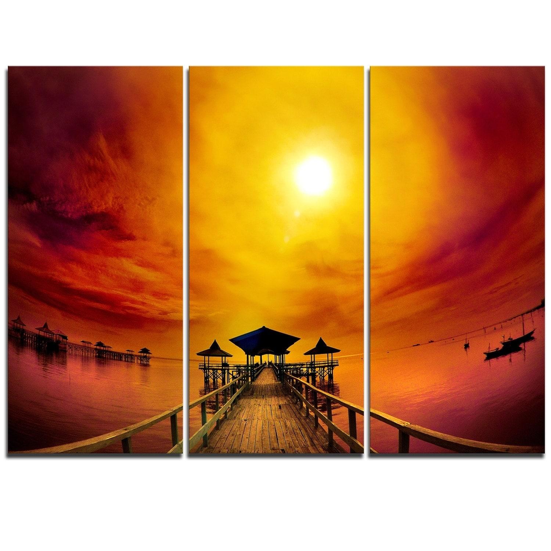 Designart - Exotic Wood Pier under Yellow Sun - Sea Bridge Glossy ...