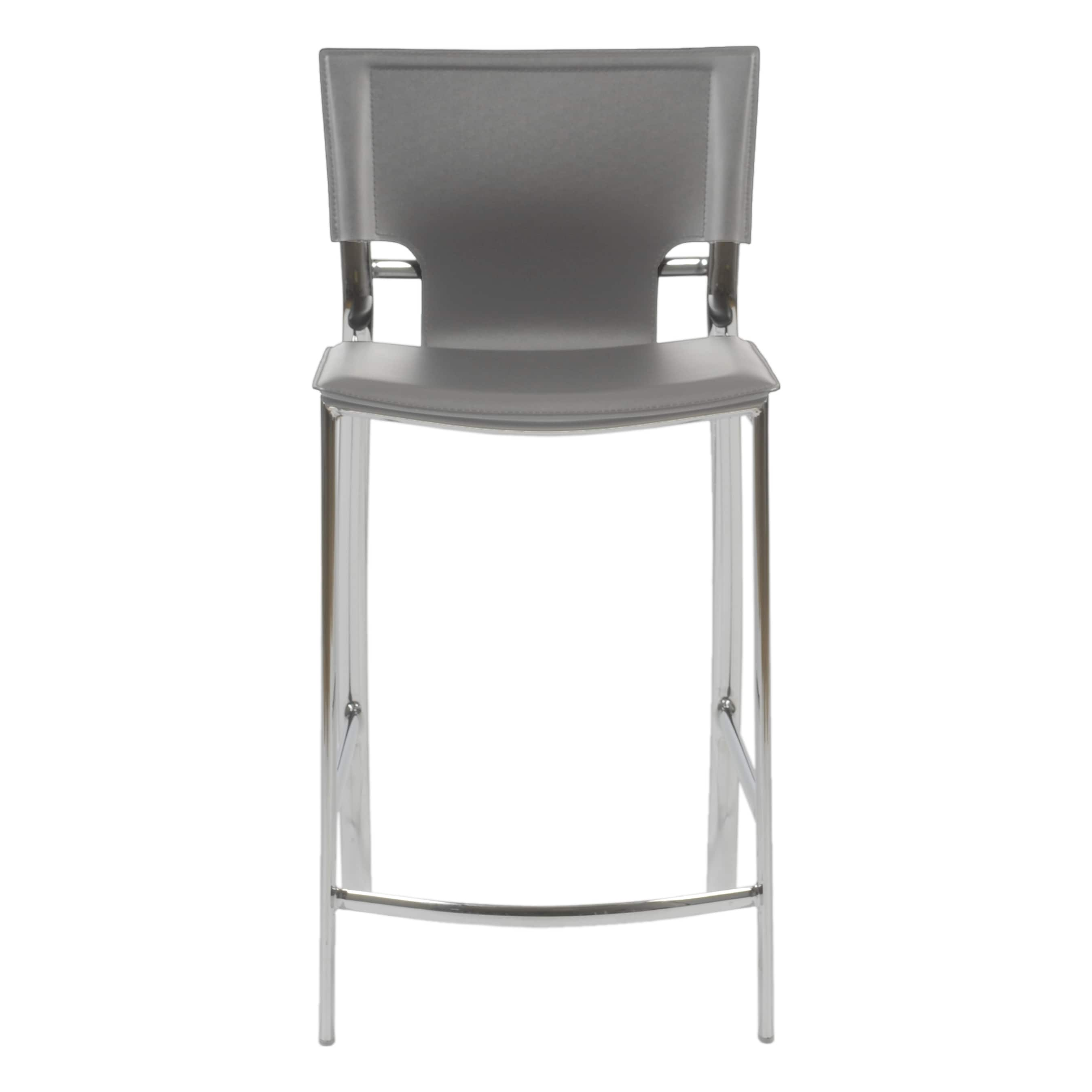 Vinnie C Counter Stool In Gray With Chrome Legs Set Of 2 Free Shipping Today 19749351