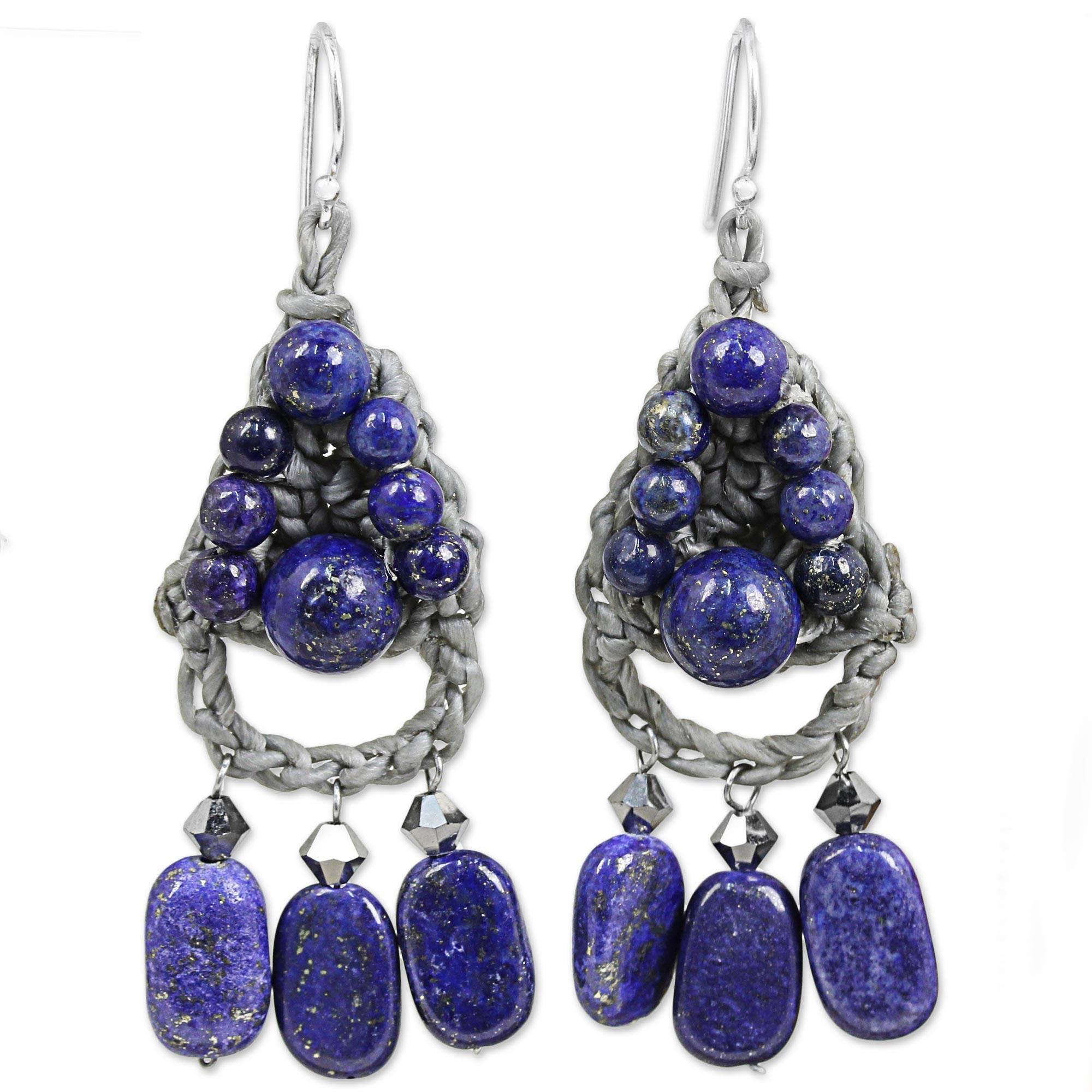 8f6039a030fd9 Handmade Sterling Silver 'Blue Folk Lace' Lapis Lazuli Earrings (Thailand)  - Blue