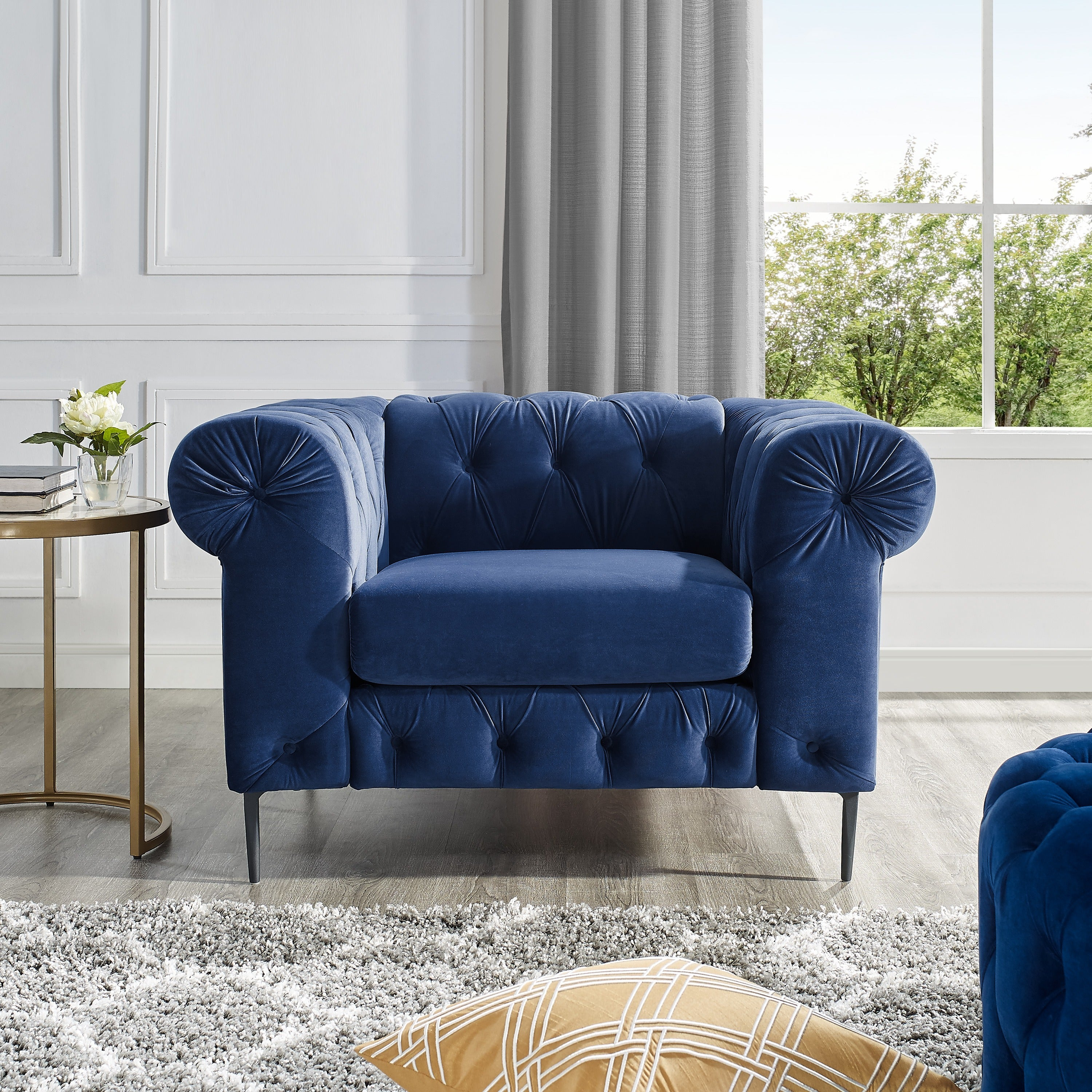 Corvus Prato Tufted Rolled Arm Sofa Chair On Free Shipping Today 19755852