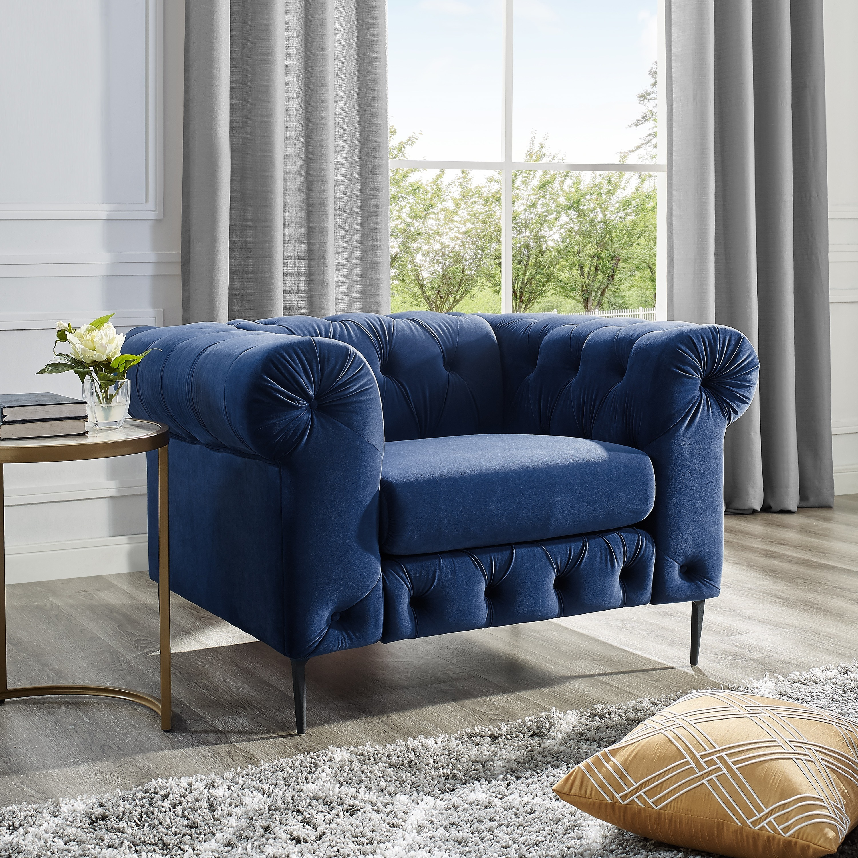 Corvus Prato Tufted Rolled Arm Sofa Chair   Free Shipping Today   Overstock    25697400