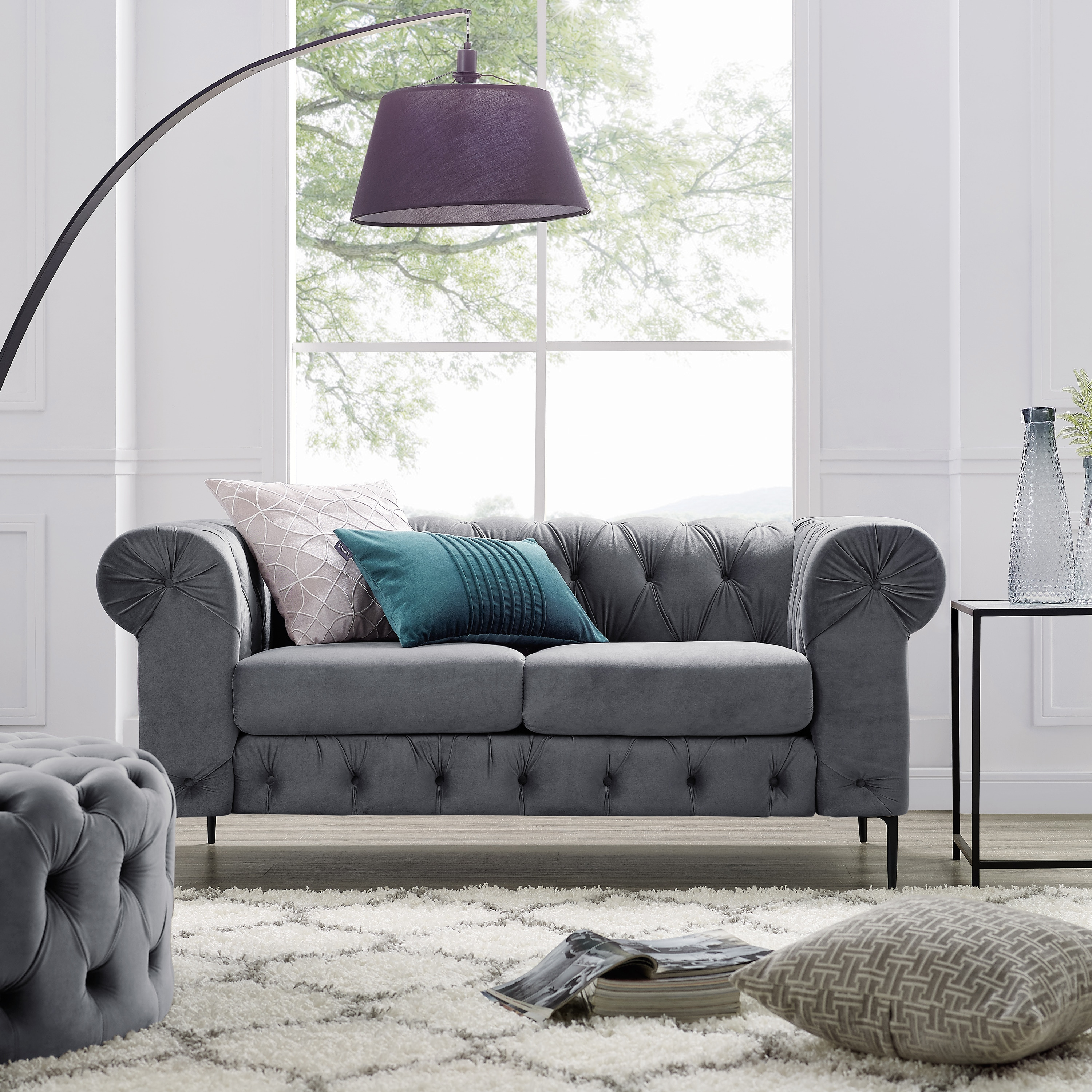 Corvus Prato Tufted Velvet Chesterfield Loveseat with Rolled Arms ...