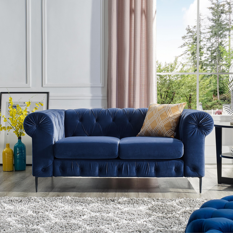 Corvus Prato Tufted Velvet Loveseat Sofa With Rolled Arms