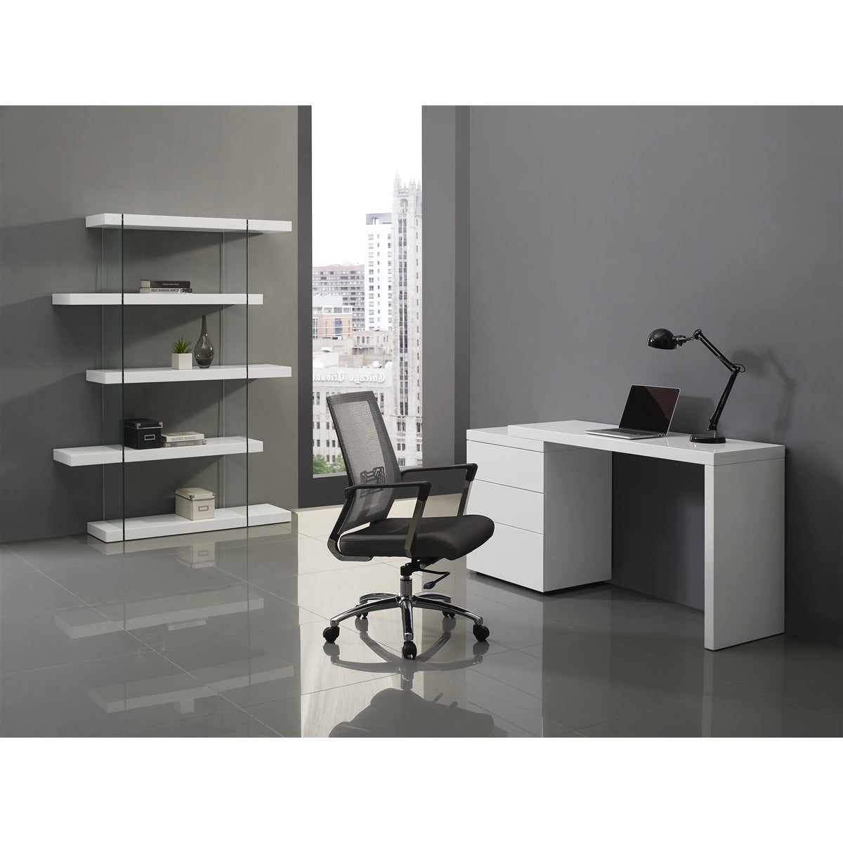 Awe Inspiring Nest High Gloss White Lacquer Extendable Office Desk By Casabianca Home Home Interior And Landscaping Pimpapssignezvosmurscom