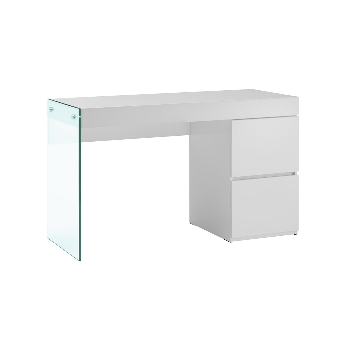 Bon Shop IL VETRO High Gloss White Lacquer Office Desk By Casabianca Home   On  Sale   Free Shipping Today   Overstock.com   19756571