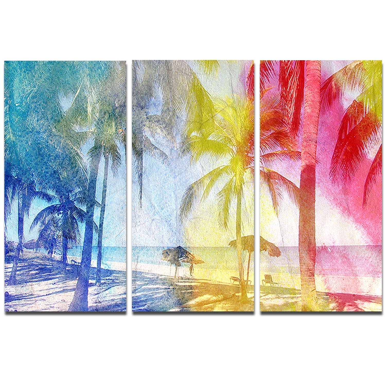 Designart \'Blue Retro Palm Trees\' Landscape Painting Metal Wall Art ...