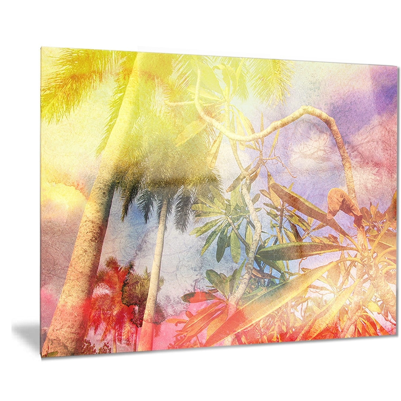 Designart \'Yellow Retro Palm Trees\' Landscape Painting Metal Wall ...