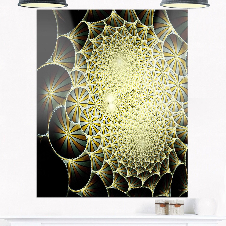 Yellow Symmetrical Unique Fractal Design - Modern Floral Glossy ...