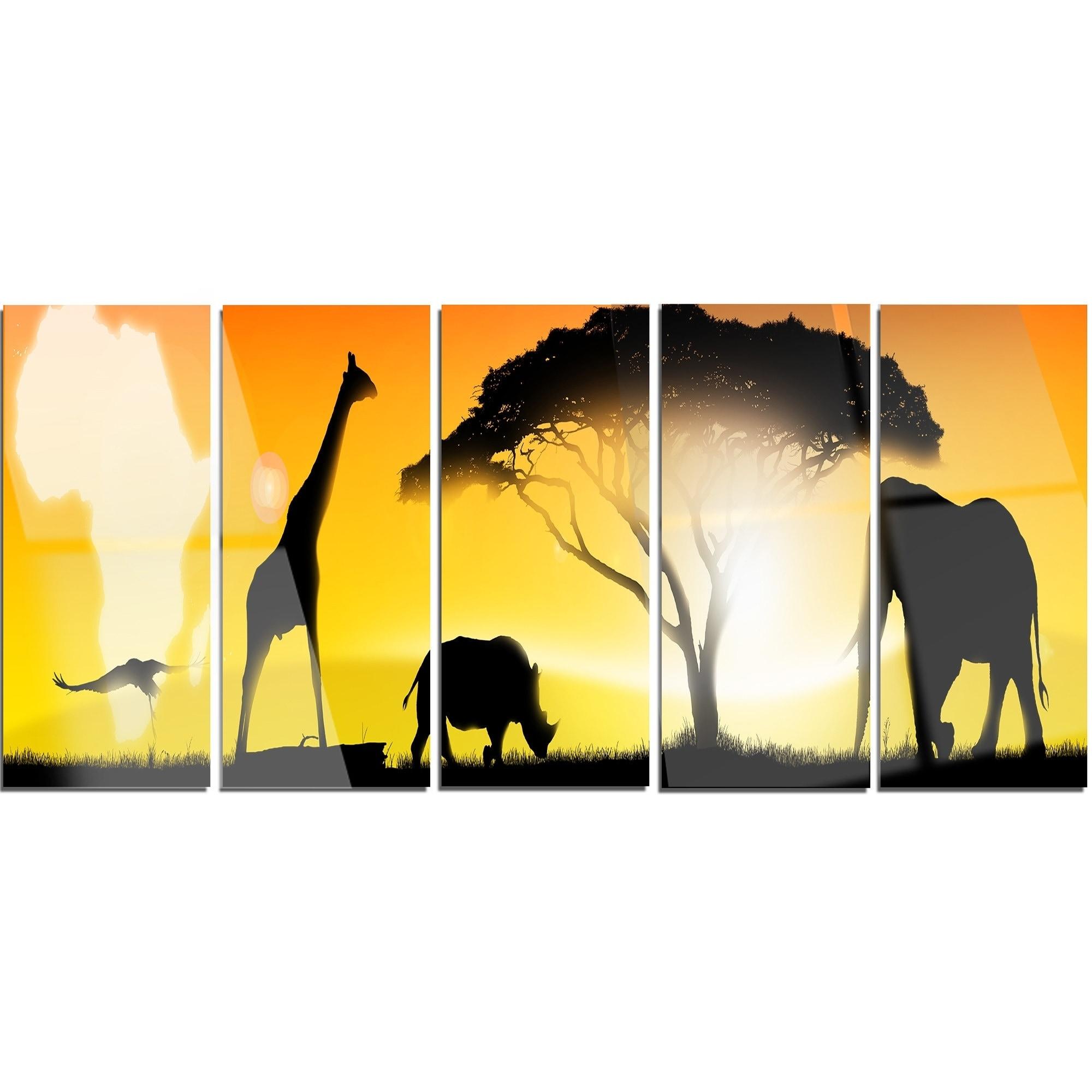 Designart \'African Wildlife Panorama\' African Wall Art Glossy Metal ...