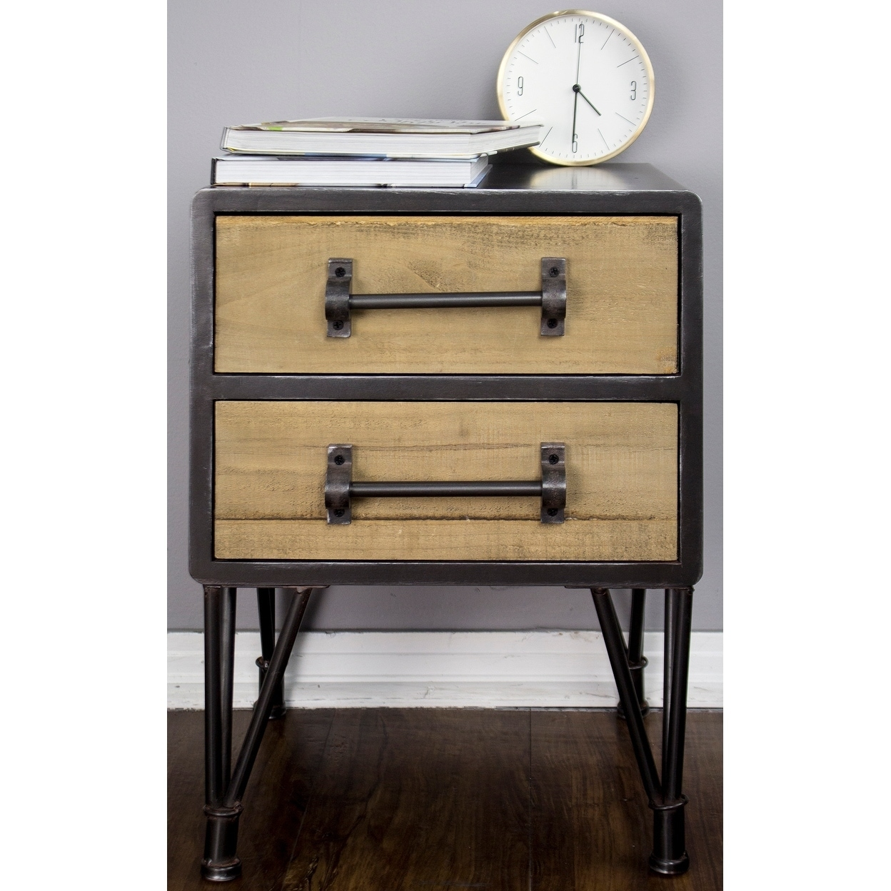 Soho Short Mid Century Wood And Metal 2 Drawer End Table On Free Shipping Today 19758656