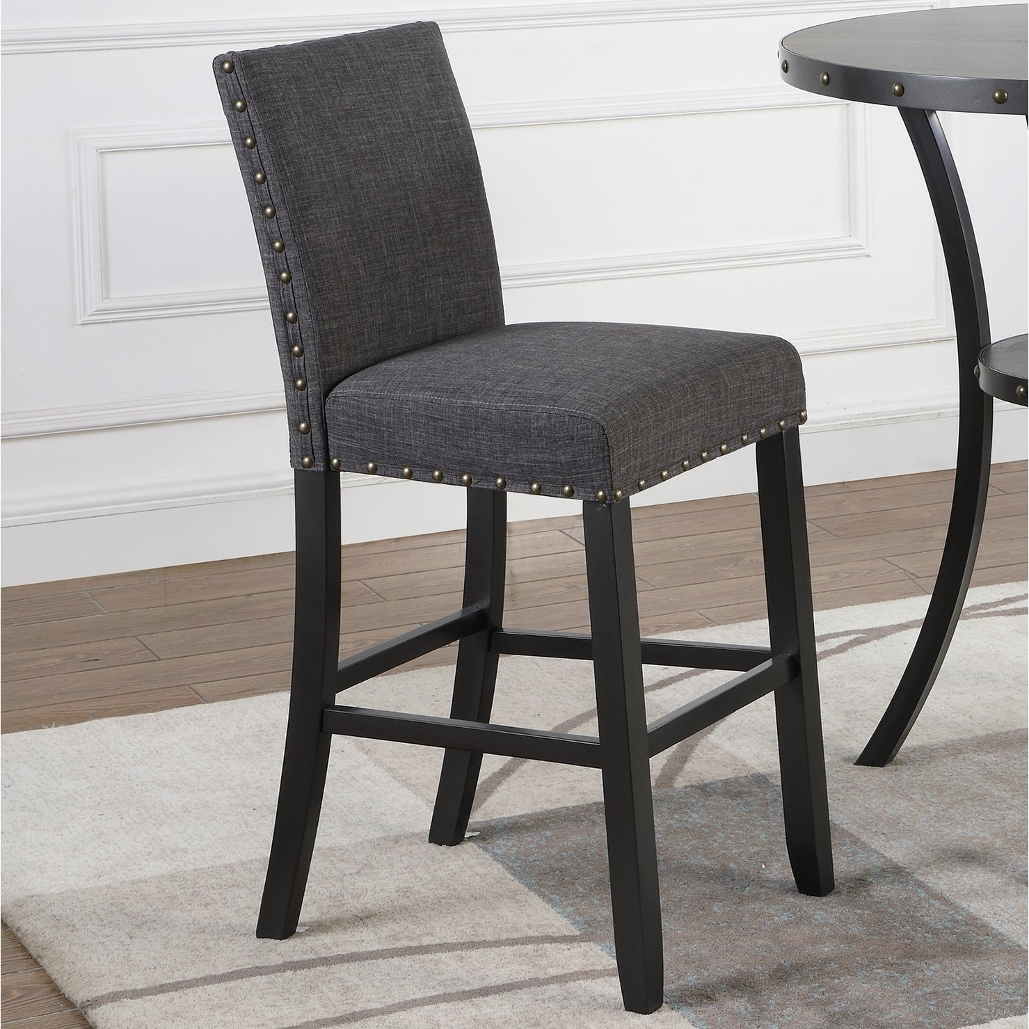 Biony Fabric Bar Stools With Nailhead Trim Set Of 2 On Free Shipping Today 19758660